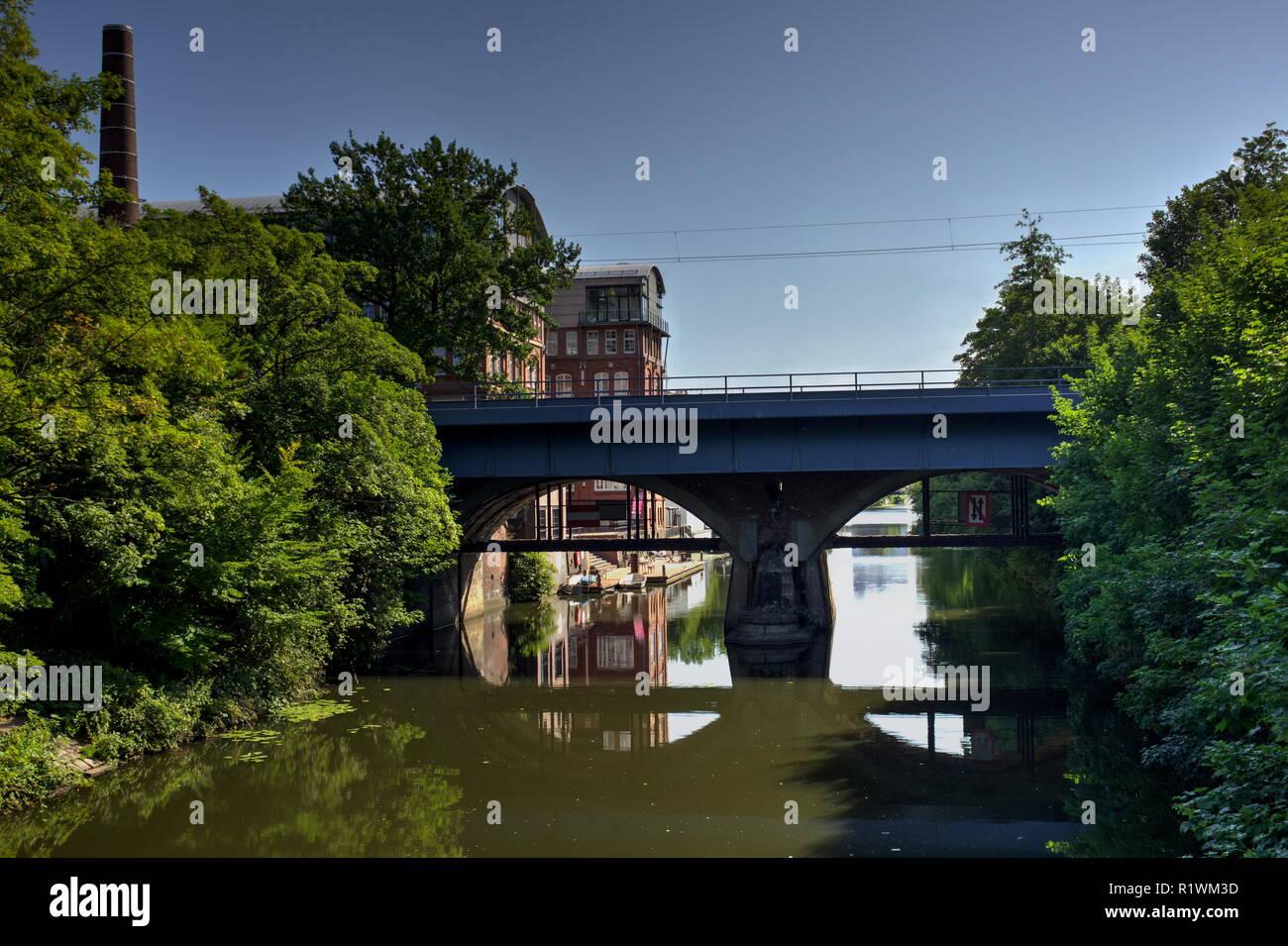railway bridge in front of a historic chocolate factory in Hamburg - Stock Image