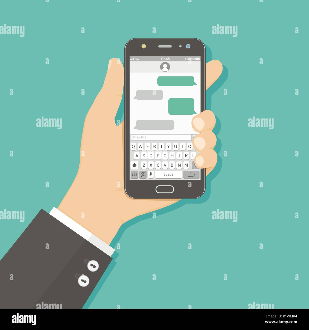 Hand holding smartphone with messaging sms app - Stock Image