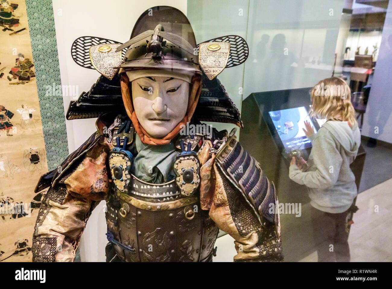 London England United Kingdom Great Britain Knightsbridge Victoria and & Albert Museum V&A V & Agalle inside interior Asia Collection samurai figure d - Stock Image