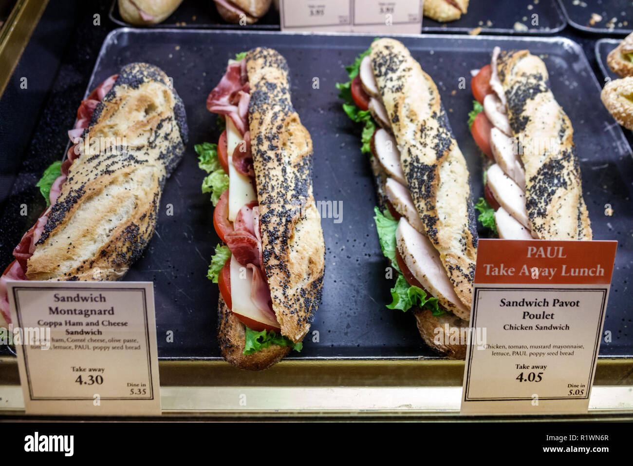London England United Kingdom Great Britain South Kensington PAUL Bakery & Cafe artisanal take-away bread bagette Montagnard sandwich Pavot Poulet chi Stock Photo