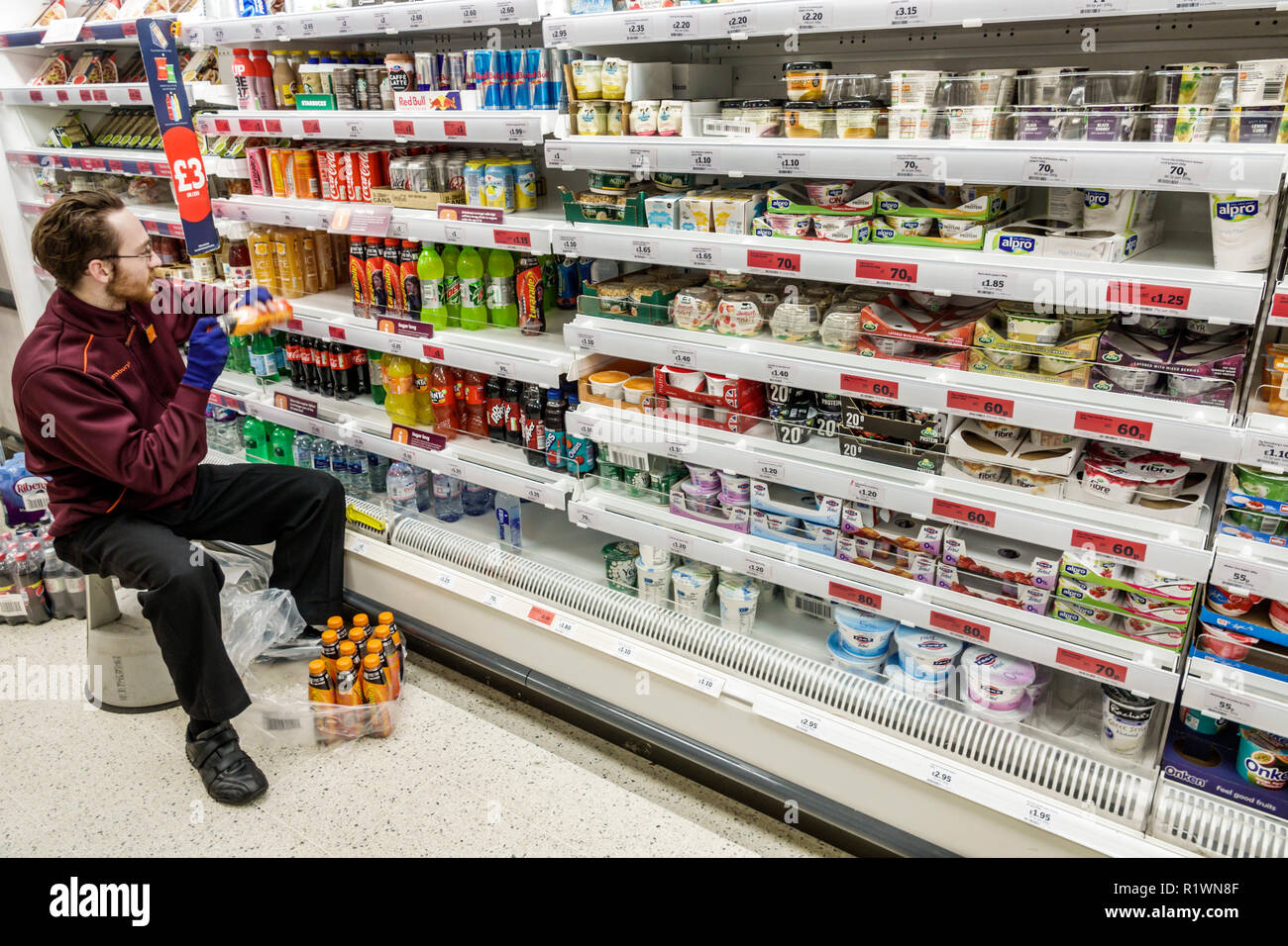 London England United Kingdom Great Britain Lambeth South Bank Sainsbury's grocery supermarket convenience store inside interior refrigerated case she - Stock Image
