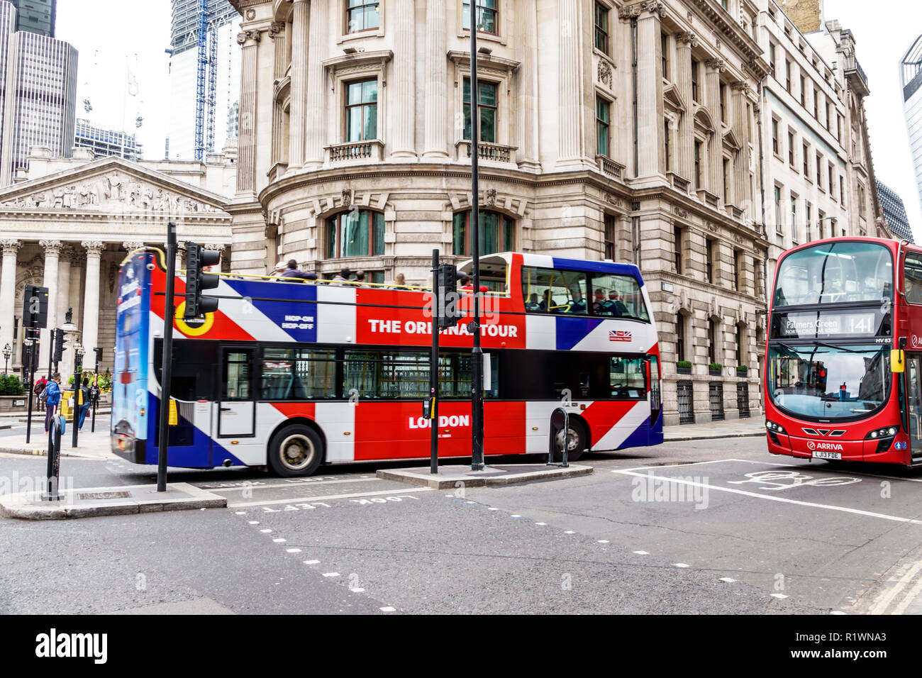 London England Great Britain United Kingdom Lombard Street City of London financial centre center 1 Cornhill historic office building intersection roa - Stock Image