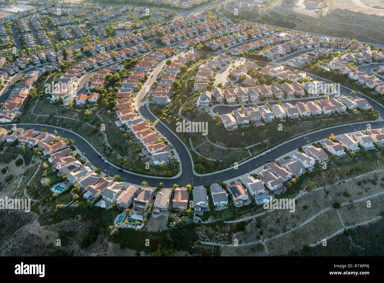 Aerial Of Porter Ranch View Homes In The San Fernando Valley Area Of