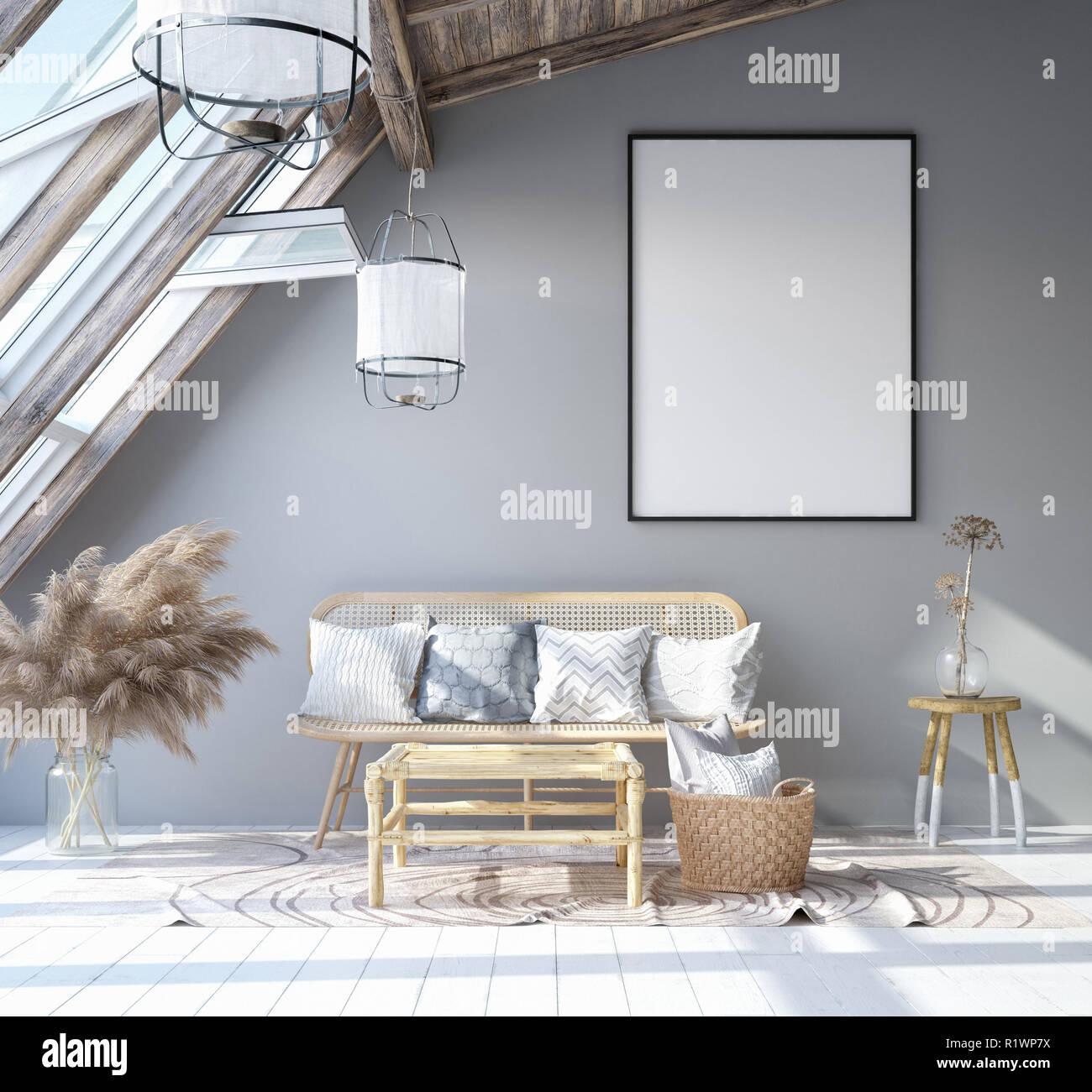 Mock up poster frame in home interior background ...
