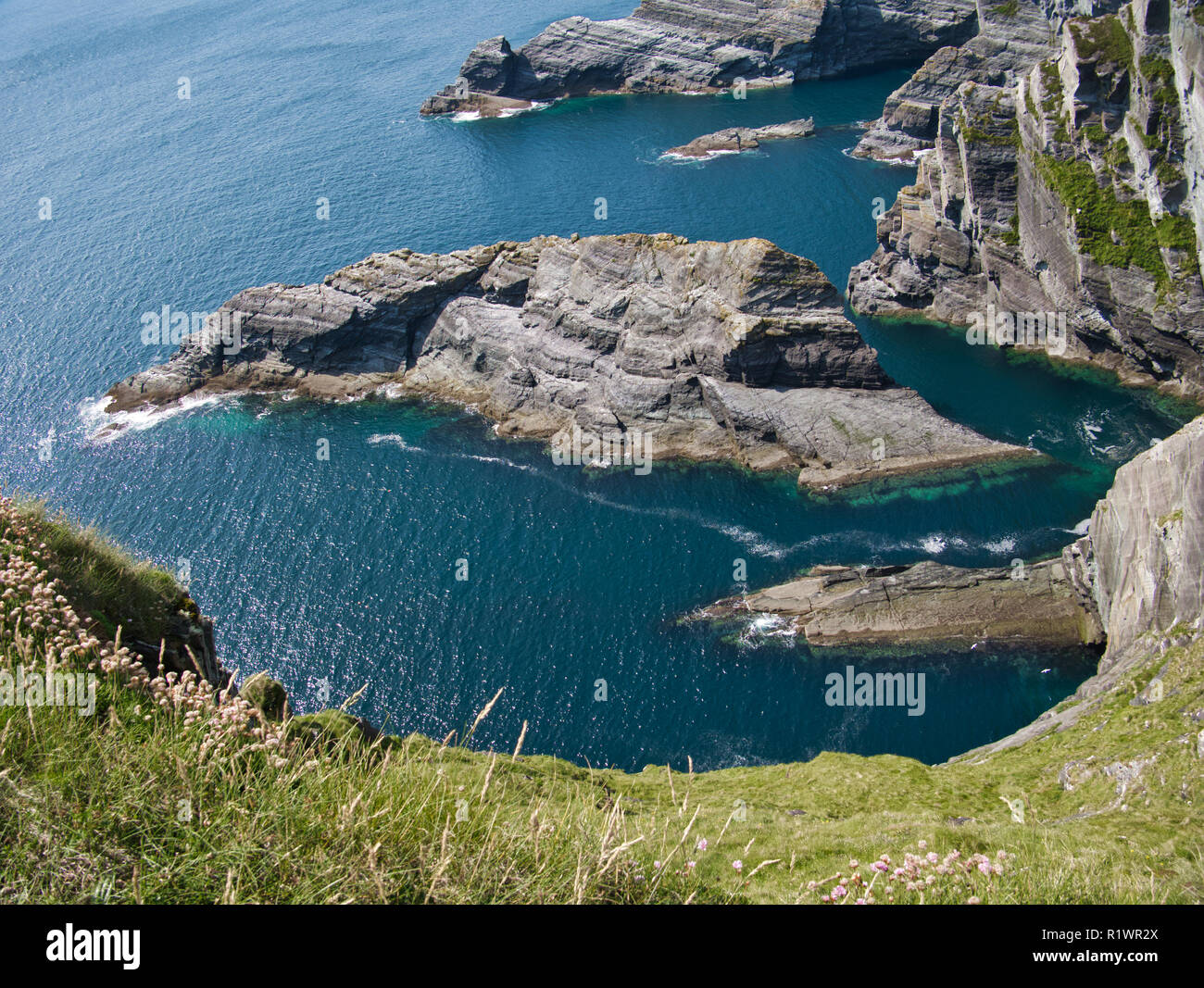 View of the sea at the Cliffs of Kerry near Portmagee in Ireland Stock Photo