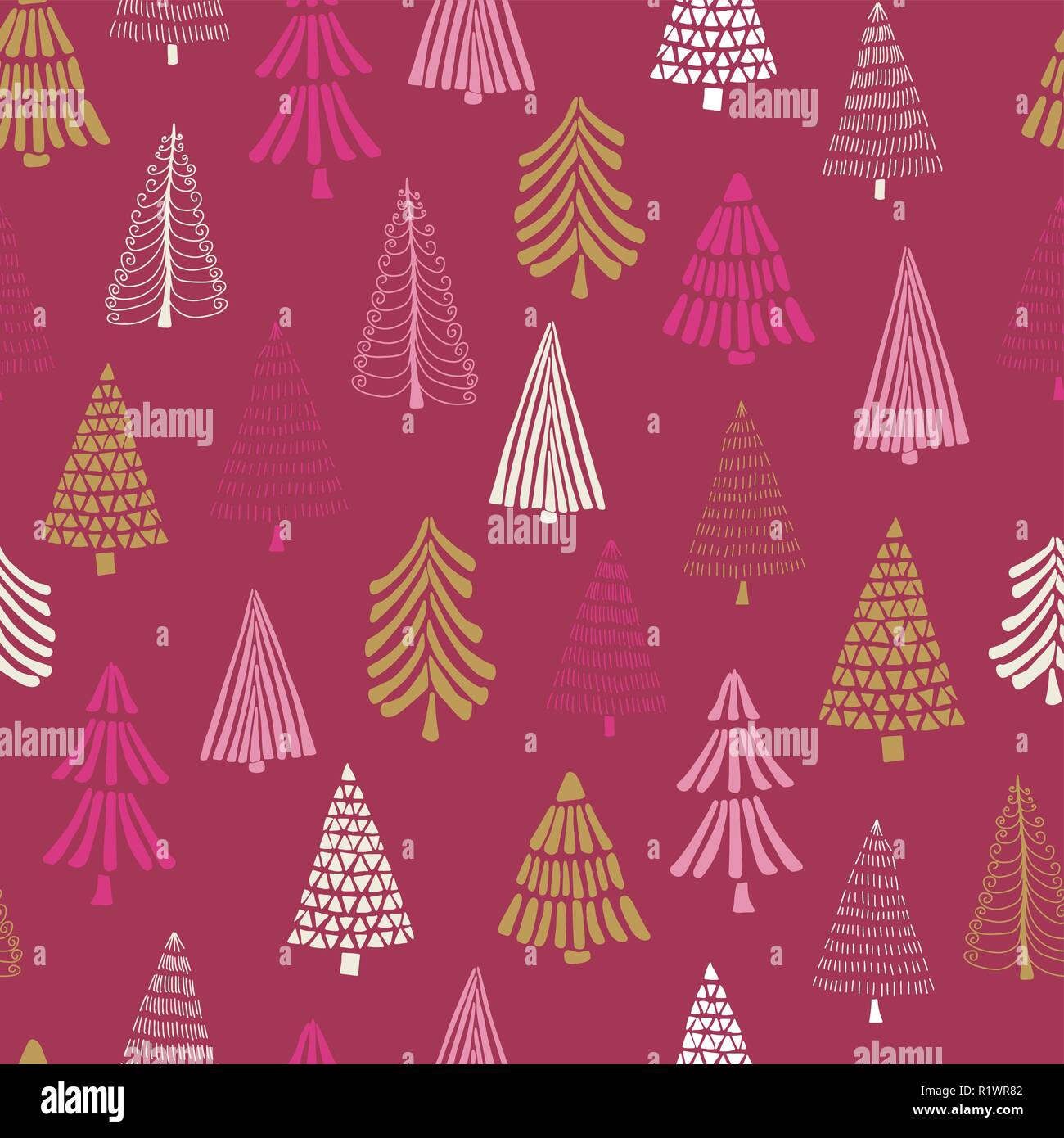 Modern Doodle Christmas Trees Seamless Vector Background Pink Gold