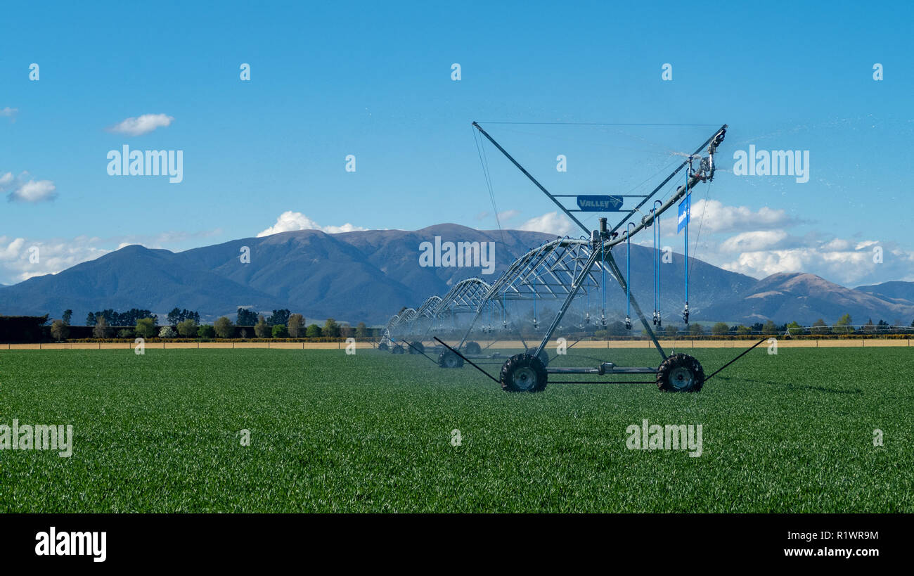 A centre pivot irrigator on a farm supplies water to pastures and crops on farms in Canterbury, New Zealand - Stock Image