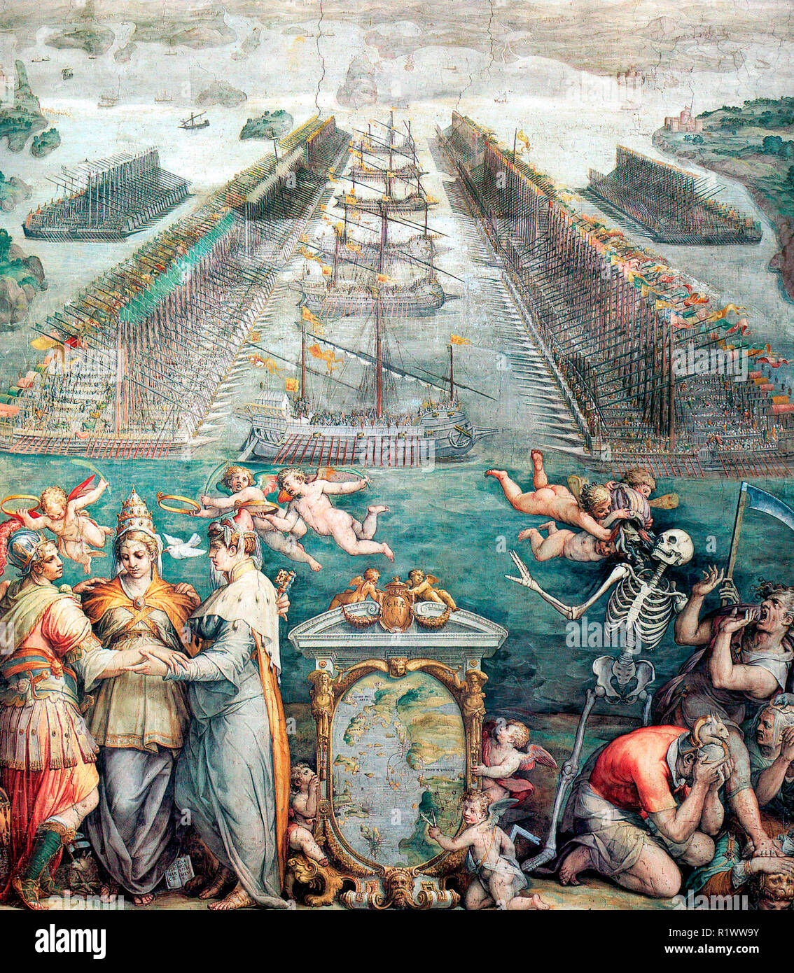 The Battle of Lepanto. The combined Christian navel forces (Holy League) of Spain, Venice, and the Papacy defeated the Turkish fleet at Lepanto, October 7, 1571. Vasari was commissioned by Pope Pius to commemorate the event in the Sala Regia in the Vatican. The foreground includes an allegorical representation of the three Christian powers. 1572 - Stock Image