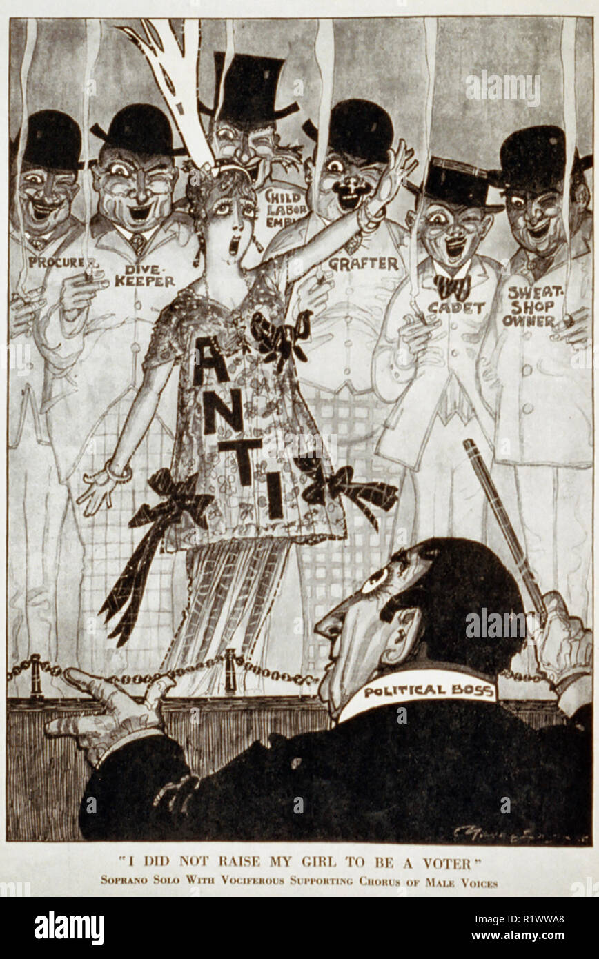 'I did not raise my girl to be a voter.' Sopronao solo with vociferous supporting chorus of male voices - 	Caricature showing 'Political boss' conducting chorus, with woman 'anti' in front of men 'procurer', 'dive-keeper', 'child labor employer', 'grafter', 'cadet' and 'sweat shop owner.' 1915 - Stock Image