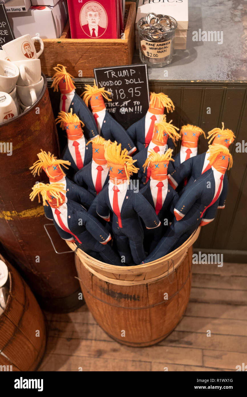 A basket of Donald Trump voodoo dolls for sale at Fish's Eddy, a tchotchke store on Broadway in Lower Manhattan, New York City. - Stock Image