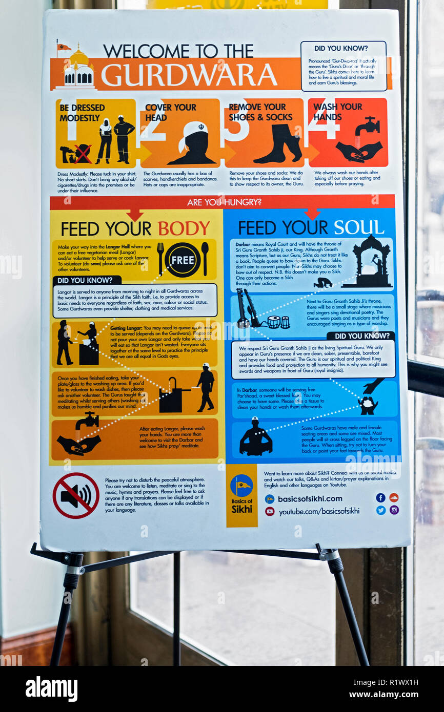 A welcoming sign at the SIkh Cultural Center in Queens advising guests on how to behave & the temple's benefits - Stock Image