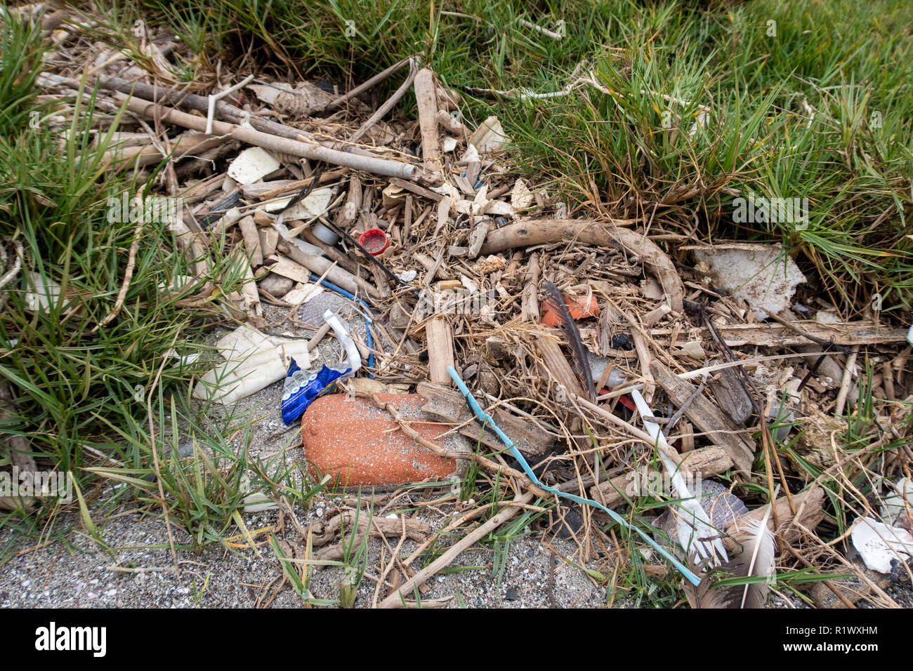 Plastics and other rubbish washed up on beaches in Peru - Stock Image