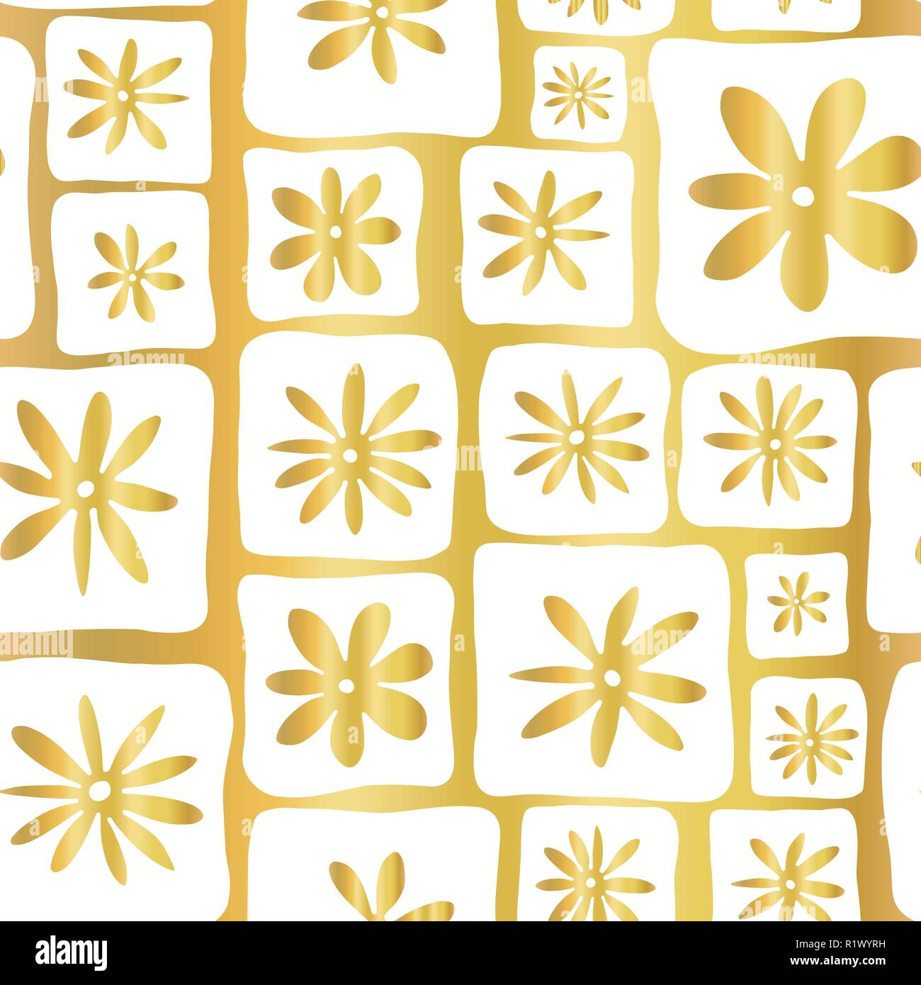 Gold Foil Doodle Flowers Seamless Vector Pattern Hand Drawn White