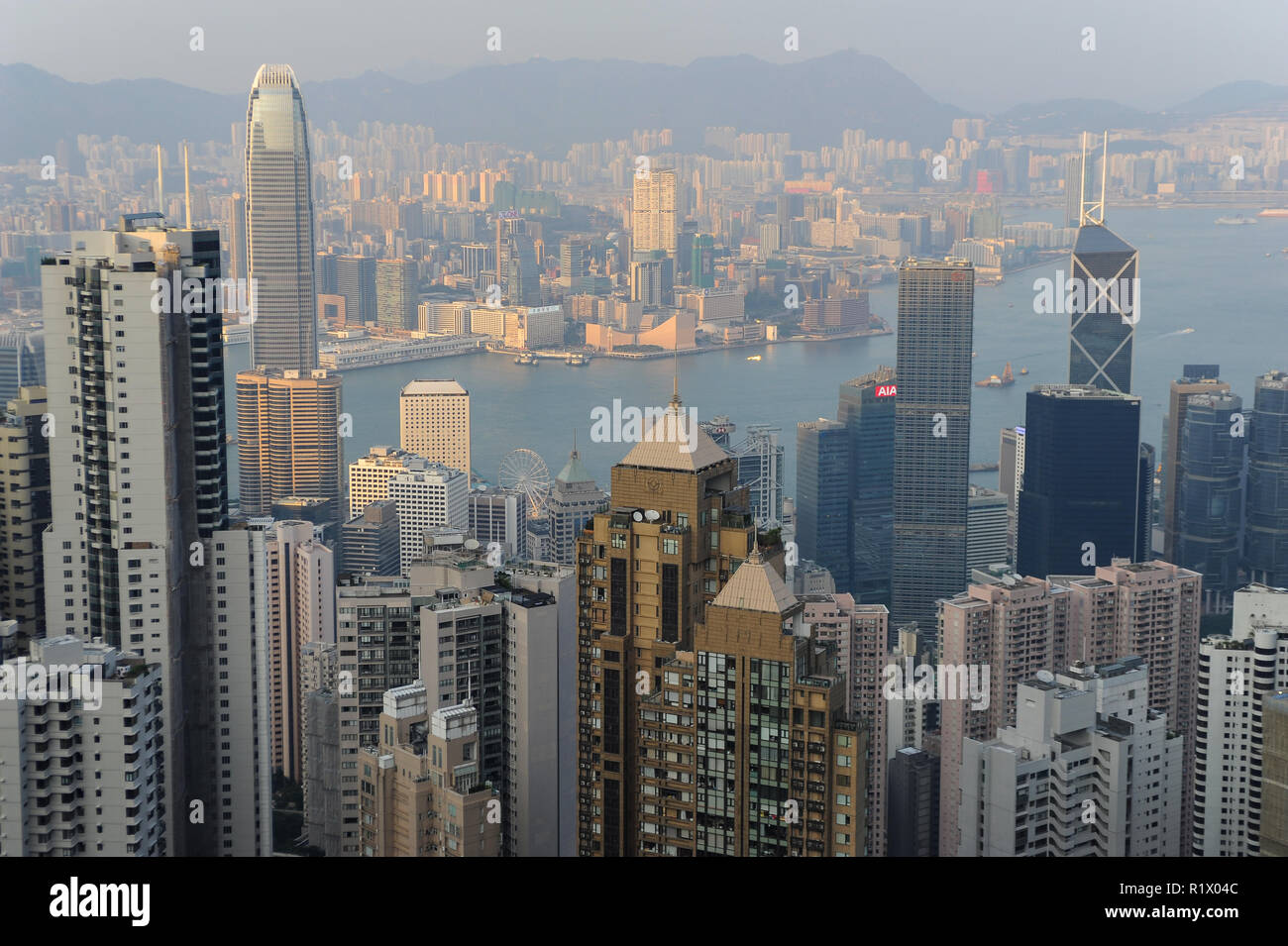 12.10.2014, Hong Kong, China, Asia - A panoramic view of Hong Kong, Victoria Harbour and Kowloon from Victoria Peak. - Stock Image