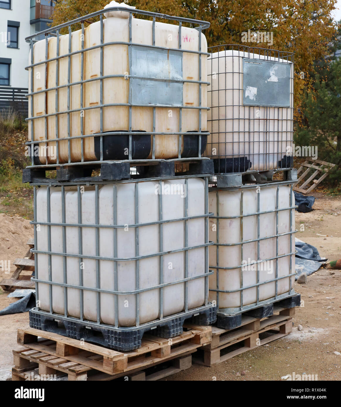 Large plastic steel reinforced containers used for storing