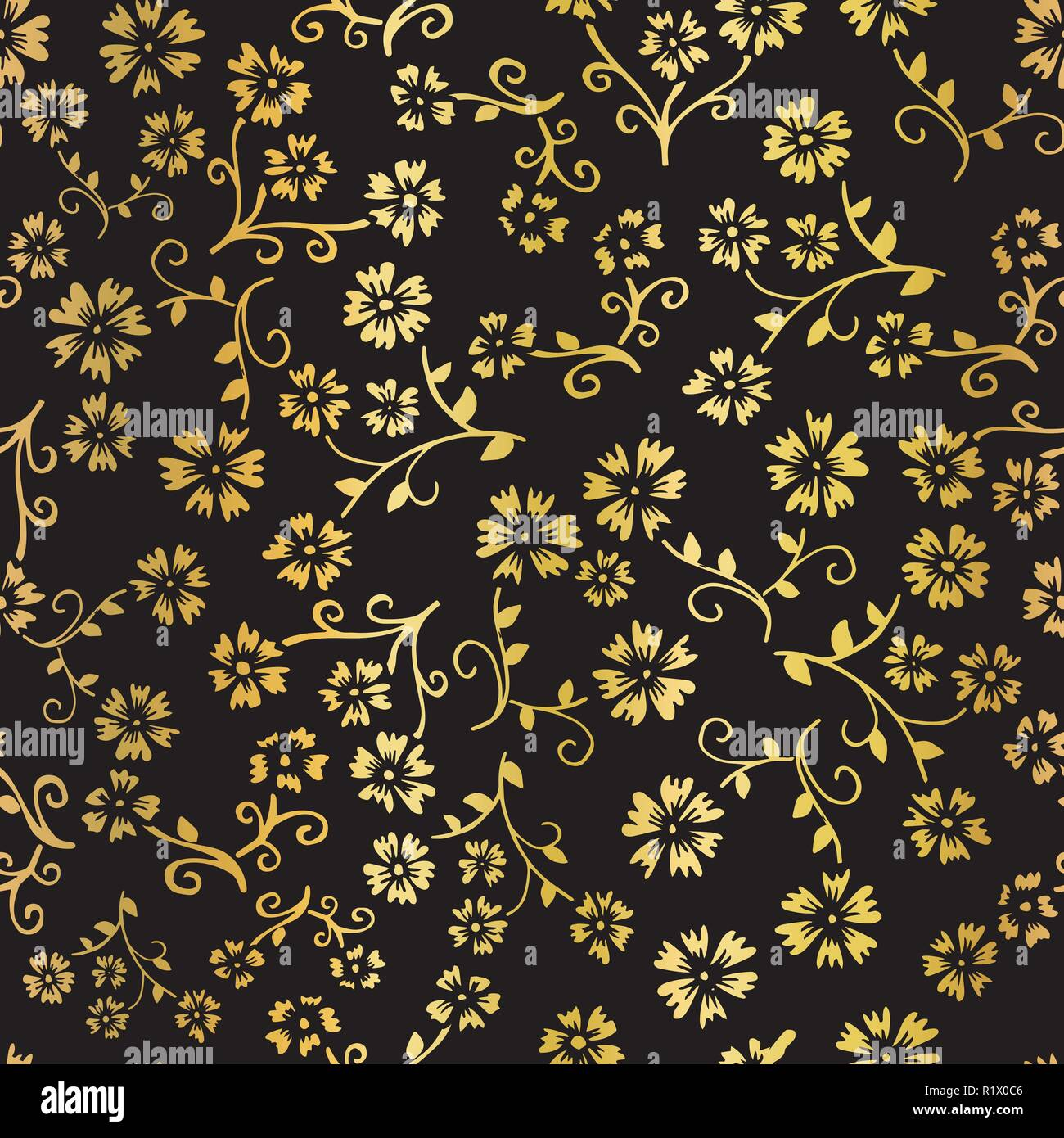 Gold Foil Flower Vector Seamless Pattern Background Elegant Golden