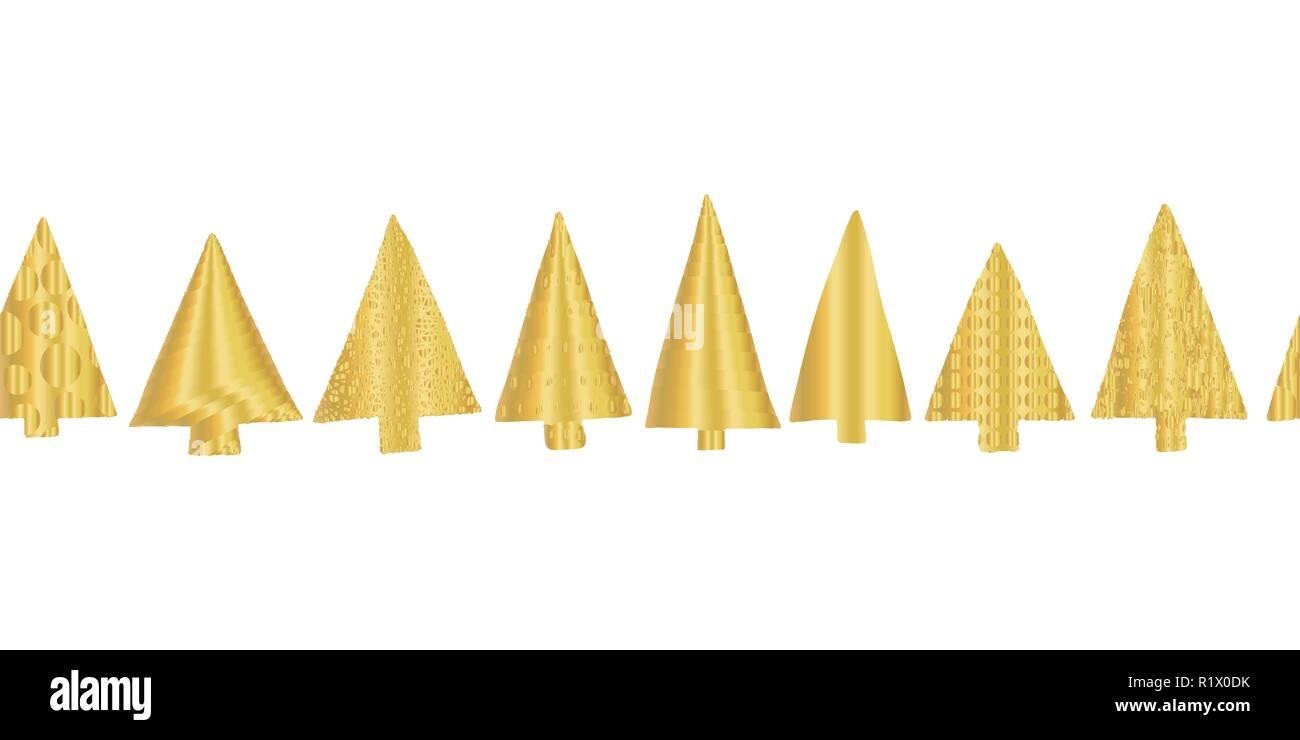 Gold Foil Christmas Tree Seamless Vector Pattern Border Shiny