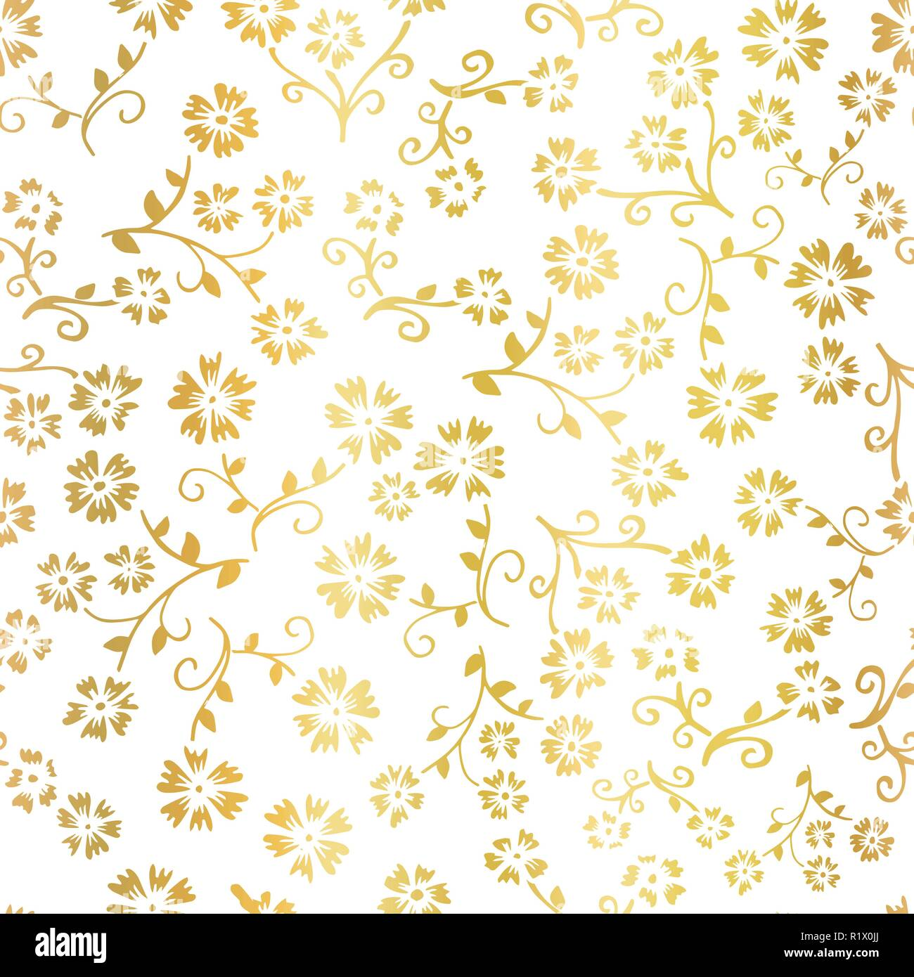 Gold Foil Flower Vector Seamless Pattern Background Elegant