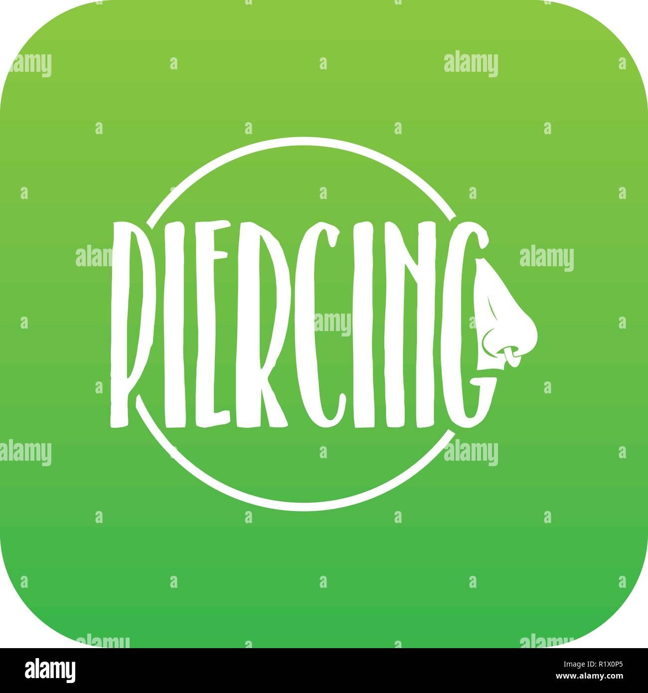 Nose piercing icon green vector Stock Vector