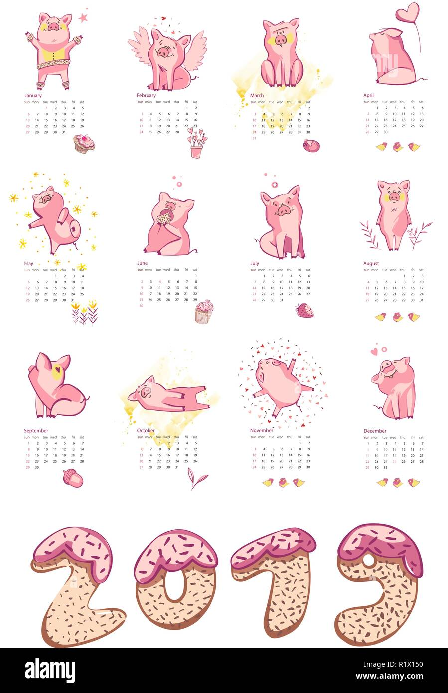 Monthly creative calendar 2019 with cute pig  Concept