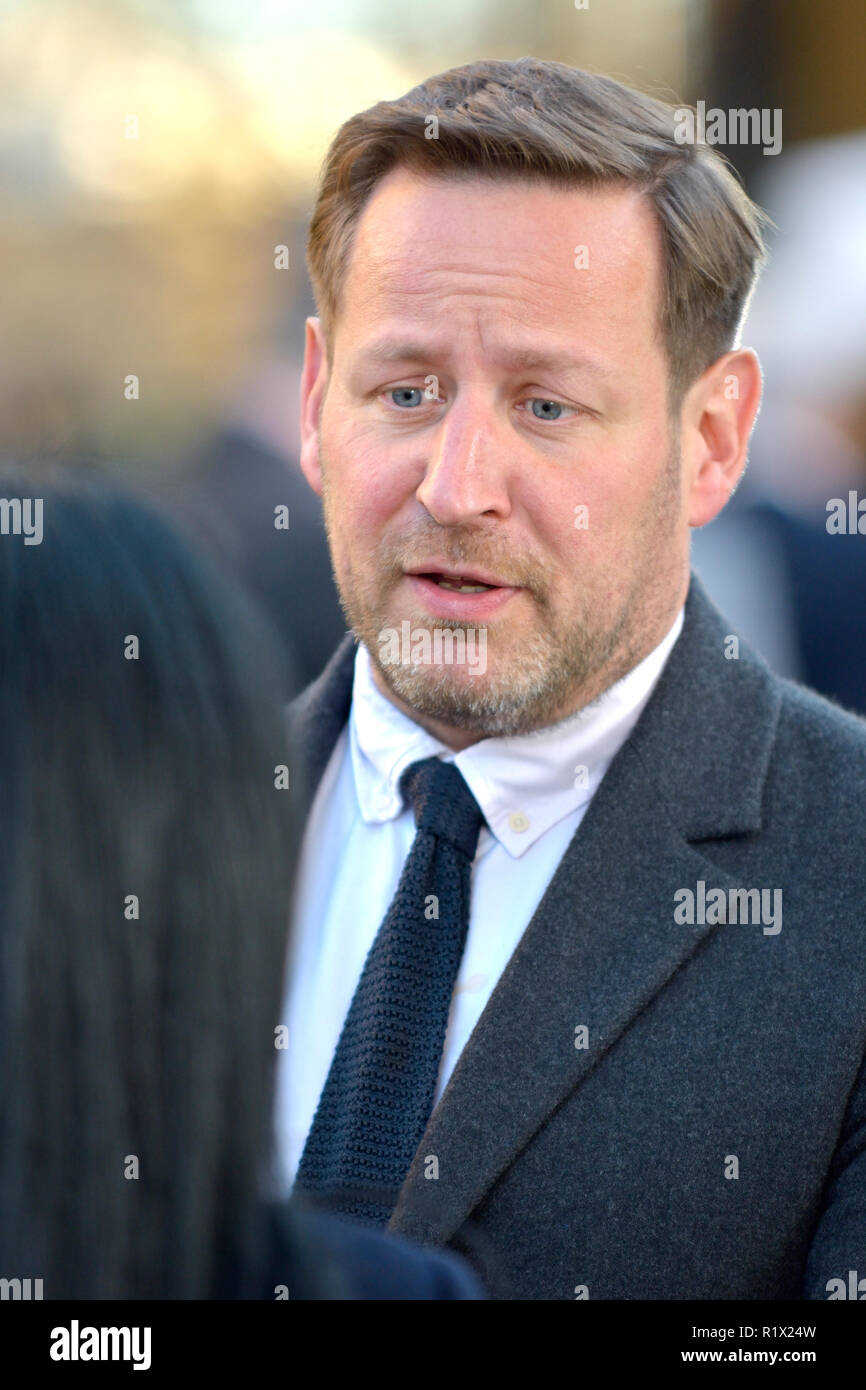 Ed Vaizey MP (Con: Wantage) being interviewed on College Green, Westminster, November 2018 - Stock Image