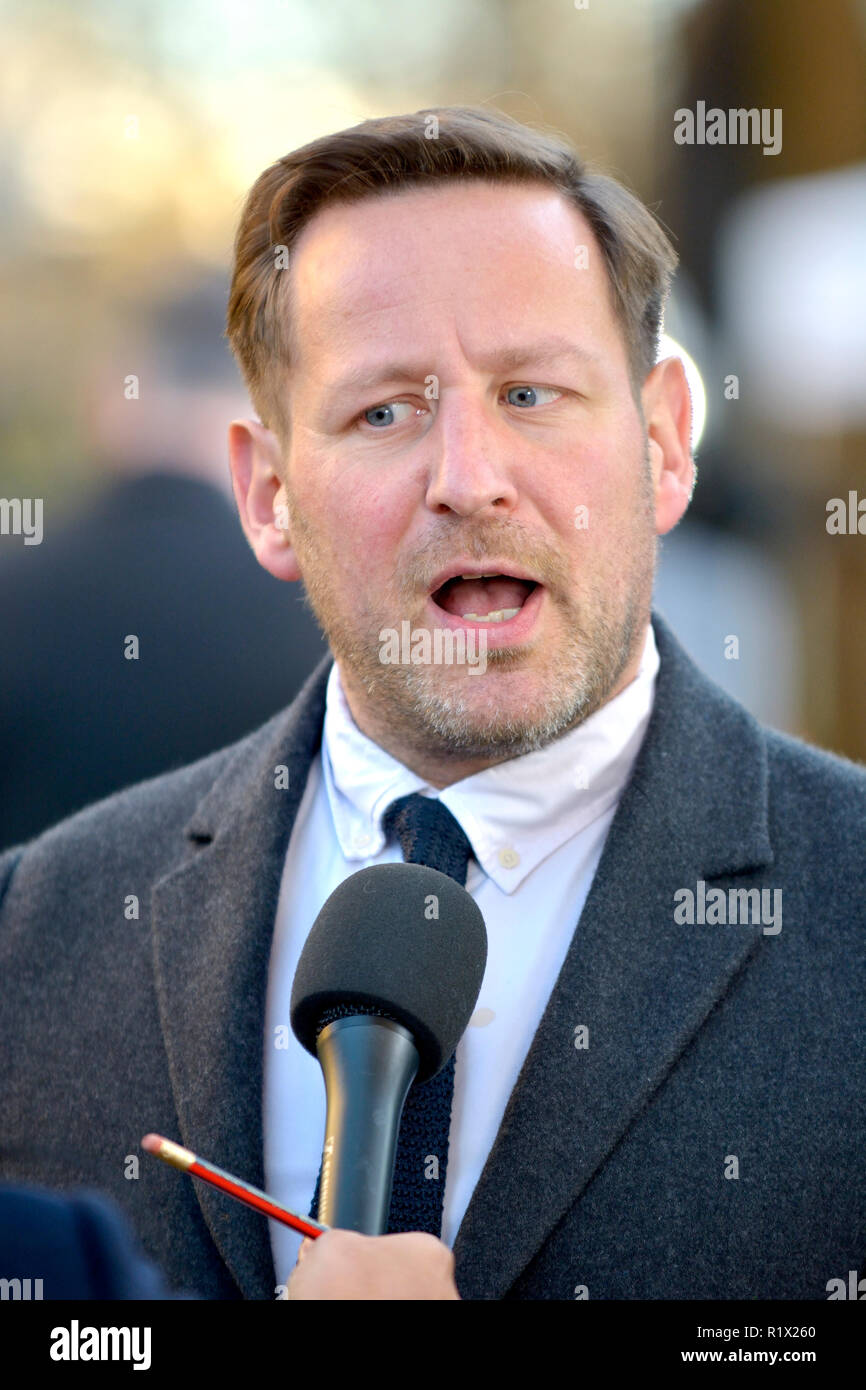 Ed Vazey MP (Con: Wantage) being interviewed on College Green, Westminster, November 2018 - Stock Image