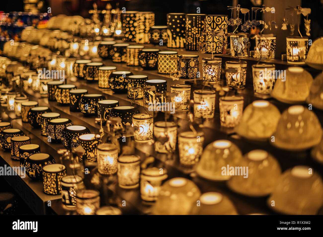 Christmas Glass Candle Holders Kiosk - Stock Image