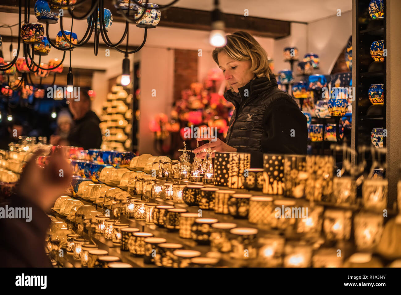 Christmas Colorful Candle Holders Kiosk - Stock Image