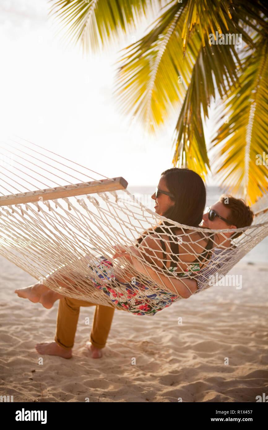 Newly weds on honeymoon on Rarotonga, Cook Islands. - Stock Image