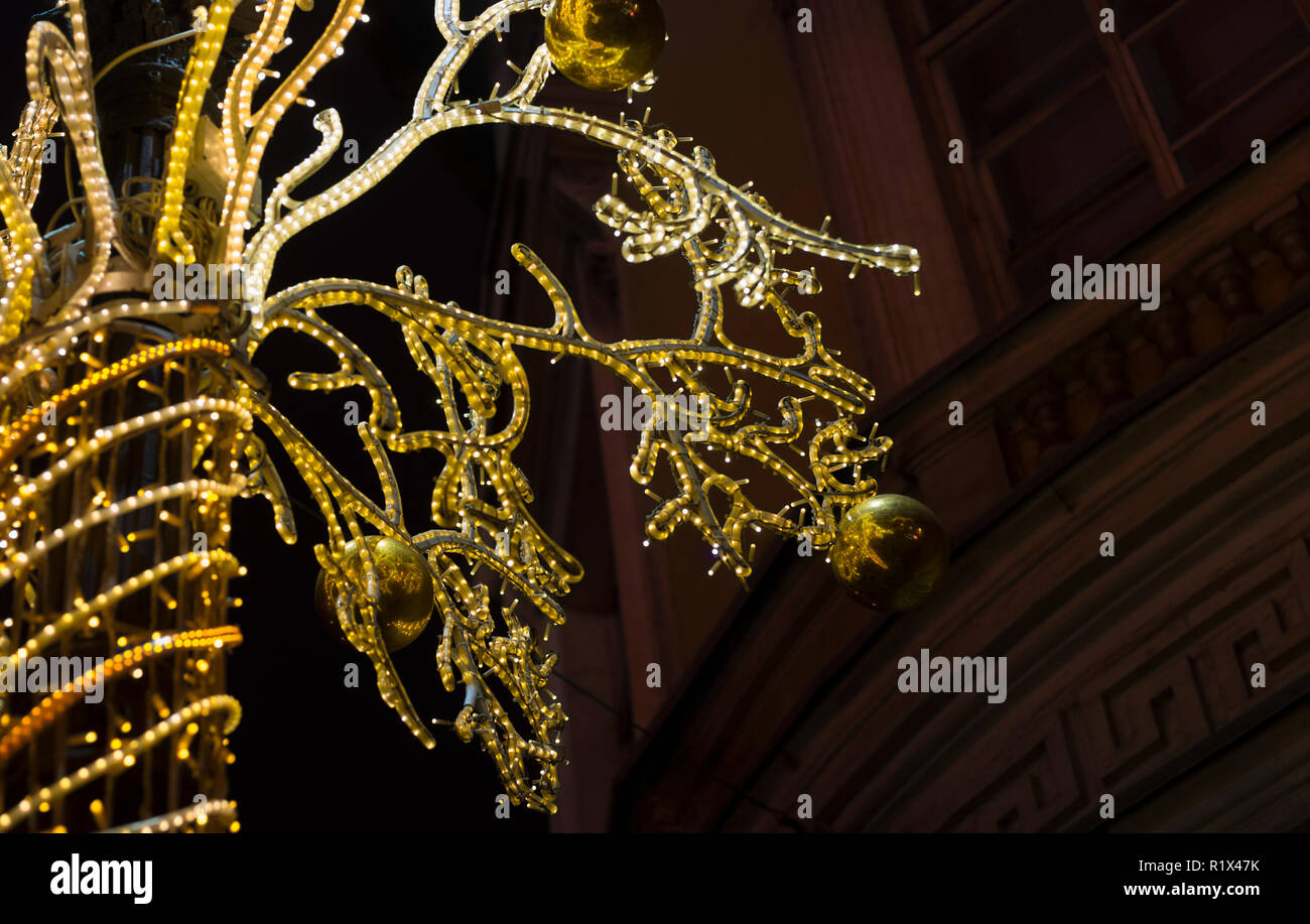 Night illumination for Christmas holidays in the night city of St. Petersburg - Stock Image