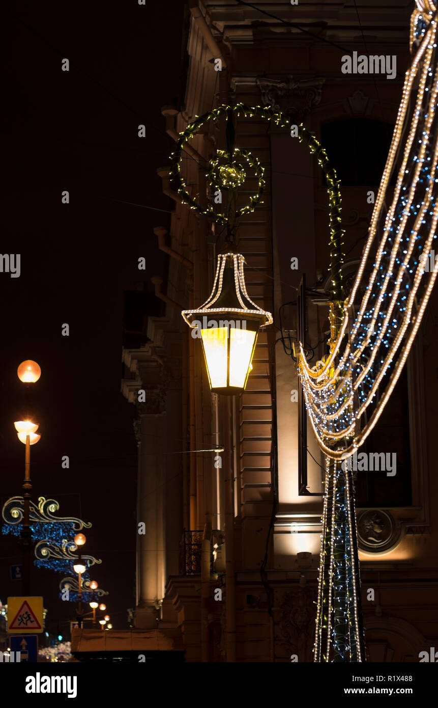 Night illumination and lantern for Christmas holidays in the night city of St. Petersburg - Stock Image