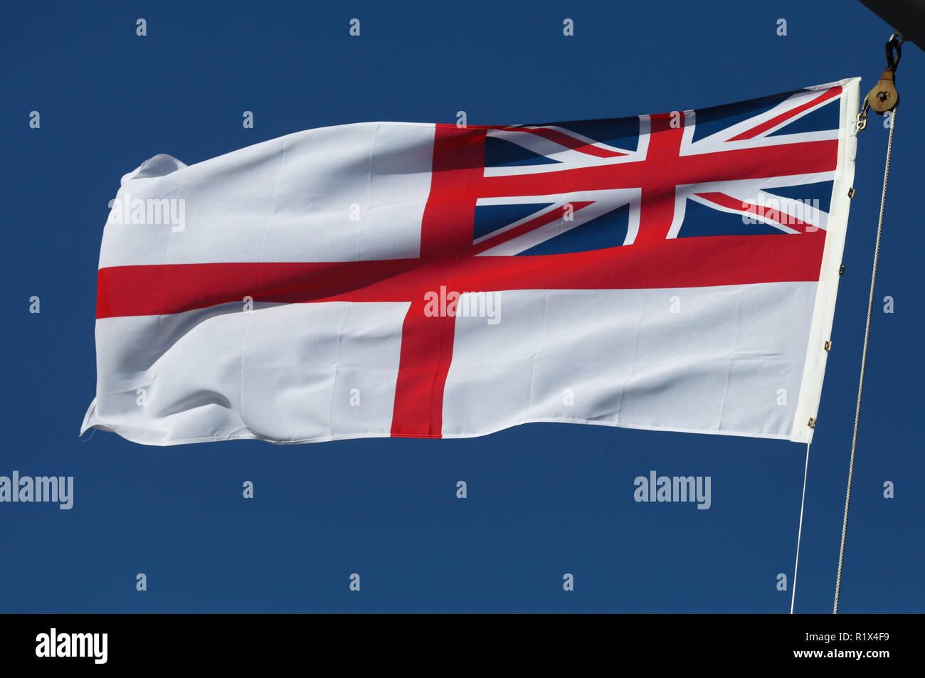 WHITE ENSIGN FLAG 5/' x 3/' British Royal Navy Naval Union Jack St George Cross