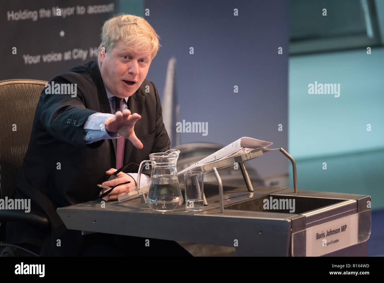 The Chamber at City Hall, The Queen's Walk, London, UK. 22nd February, 2016. The current Mayor of London, Boris Johnson, presents his last £16 billion - Stock Image