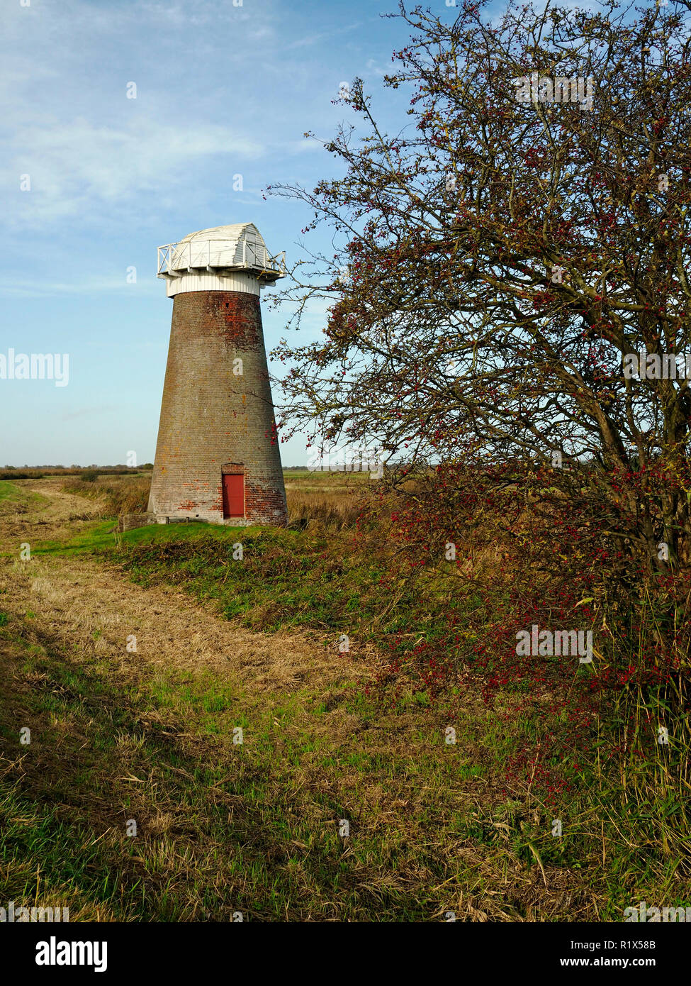 The disused drainage wind pump on the marshes  at the edge of Martham Broad at West Somerton, Norfolk. - Stock Image