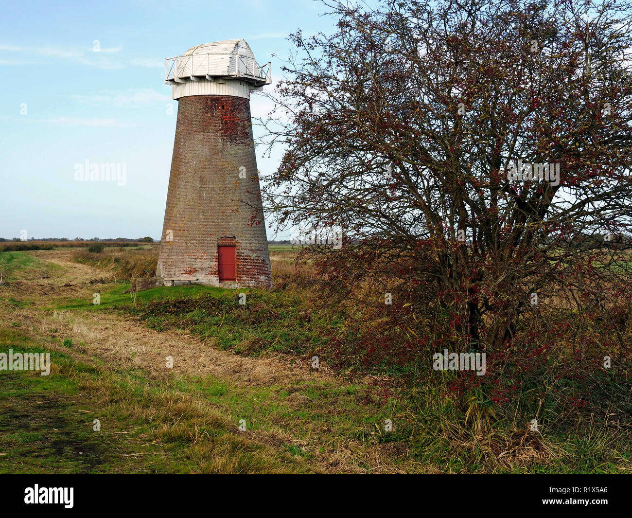 The disused drainage wind pump on the marshes  at the edge of Martham Broad at West Somerton, Norfolk. Stock Photo