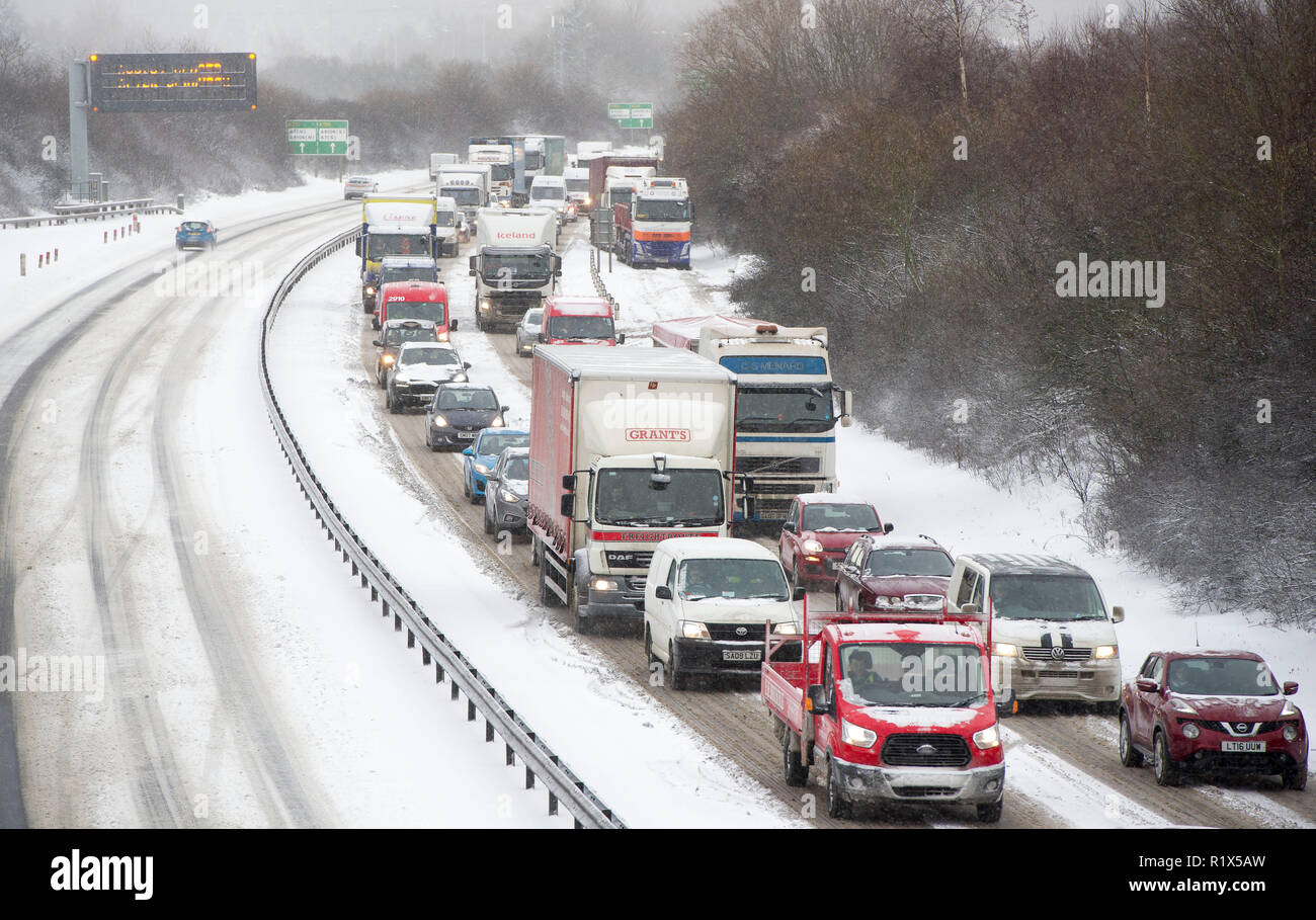 Traffic congestion on the A720 Edinburgh city bypass during the 'beast from the east storm in February 2018. - Stock Image