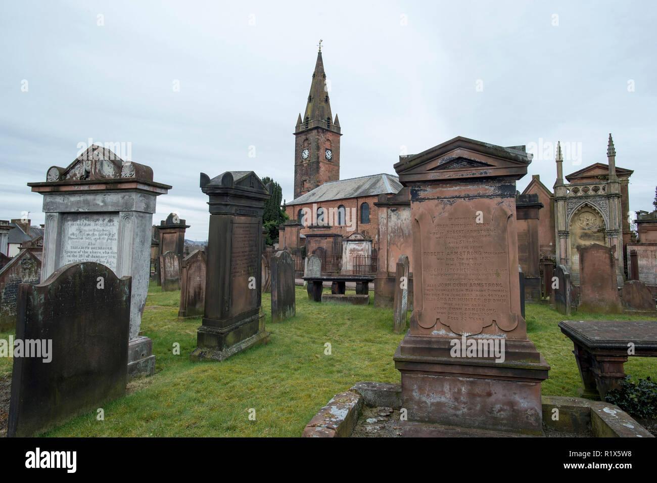 Dumfries, Dumfries & Galloway, Scotland. St Michael's Churchyard where Robert Burns was buried. Stock Photo