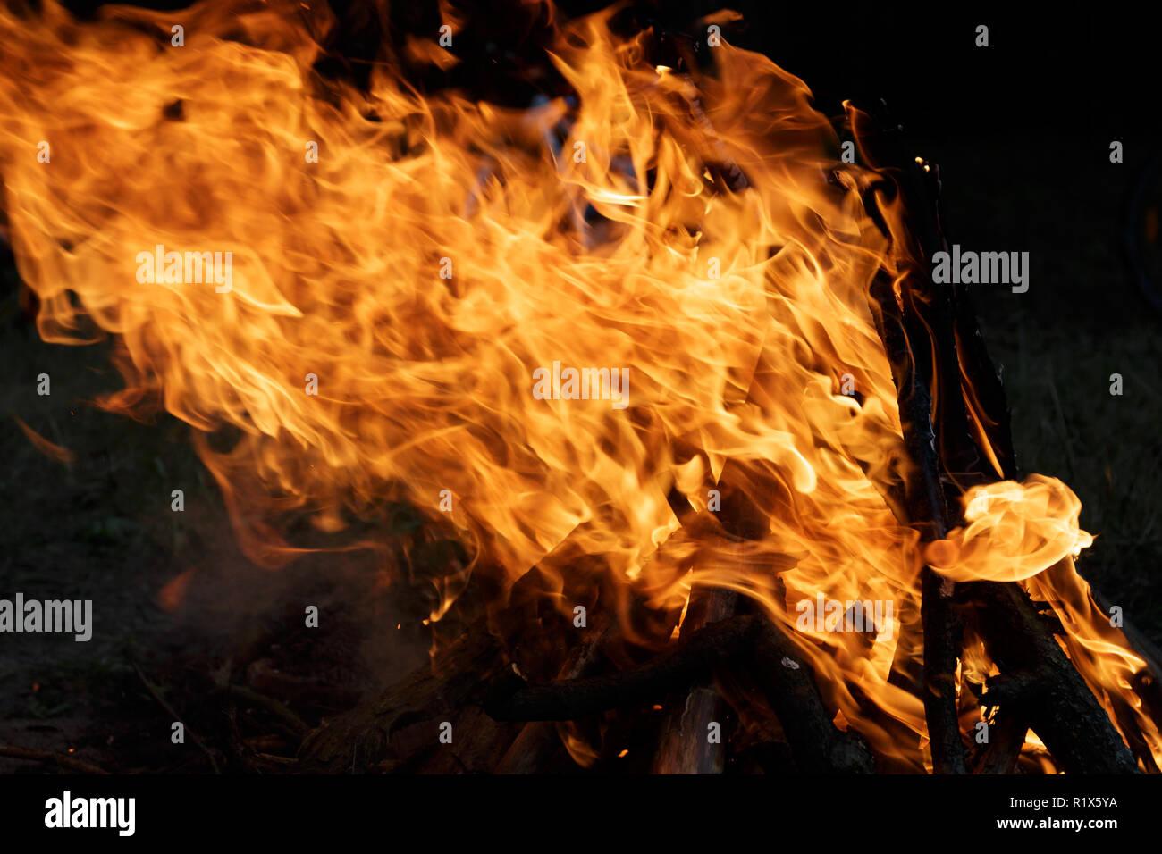 A burning fireplace Stock Photo