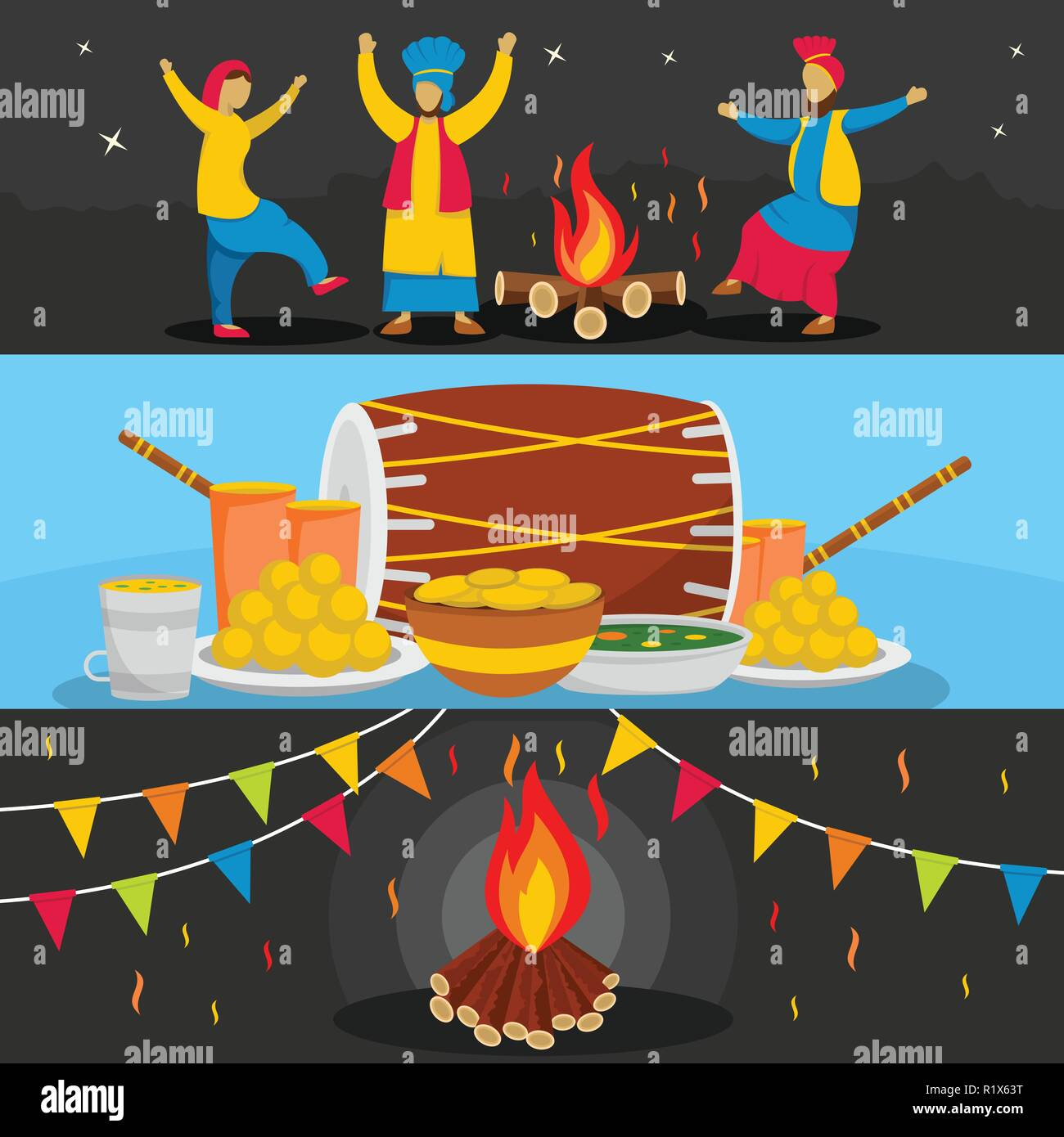 Happy Lohri festival banner horizontal concept set. Flat illustration of 3 Happy Lohri festival vector banner horizontal concepts for web - Stock Vector