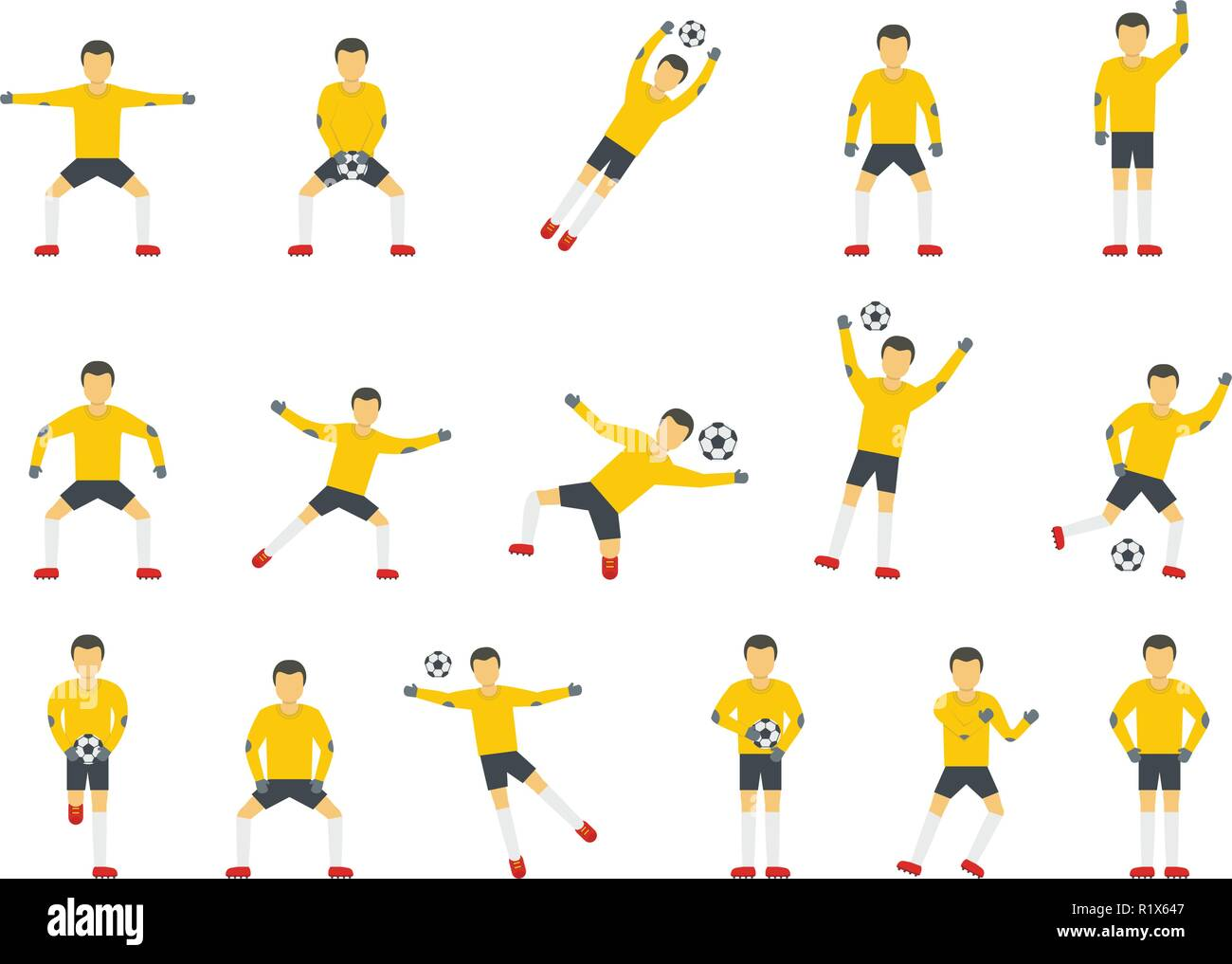 Goalkeeper man icons set. Flat illustration of 15 goalkeeper man vector icons for web - Stock Image