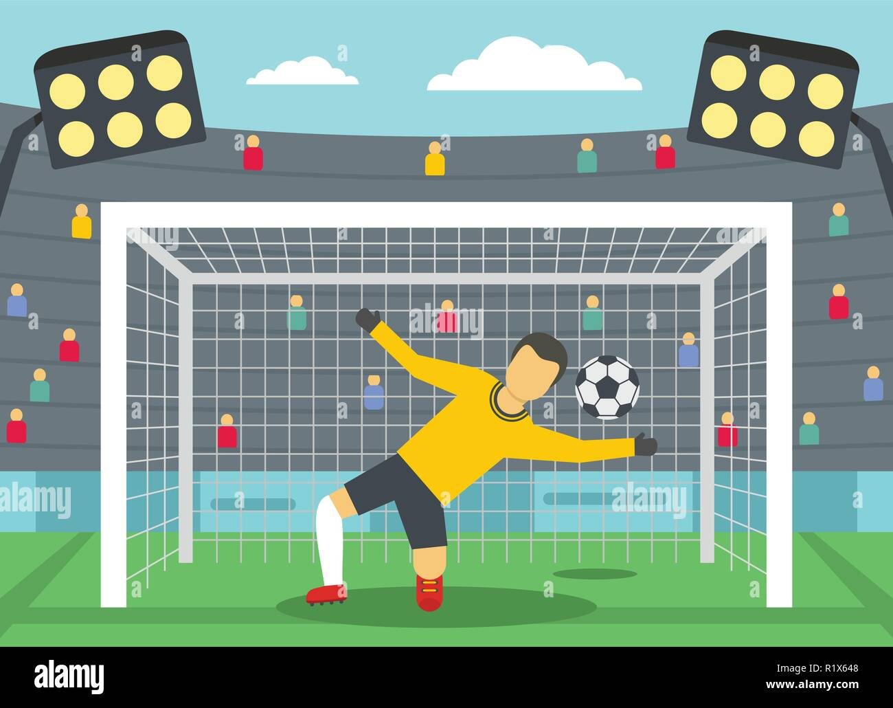 Soccer goalkeeper on stadium concept. Flat illustration of soccer goalkeeper on stadium vector banner horizontal concept for web - Stock Image