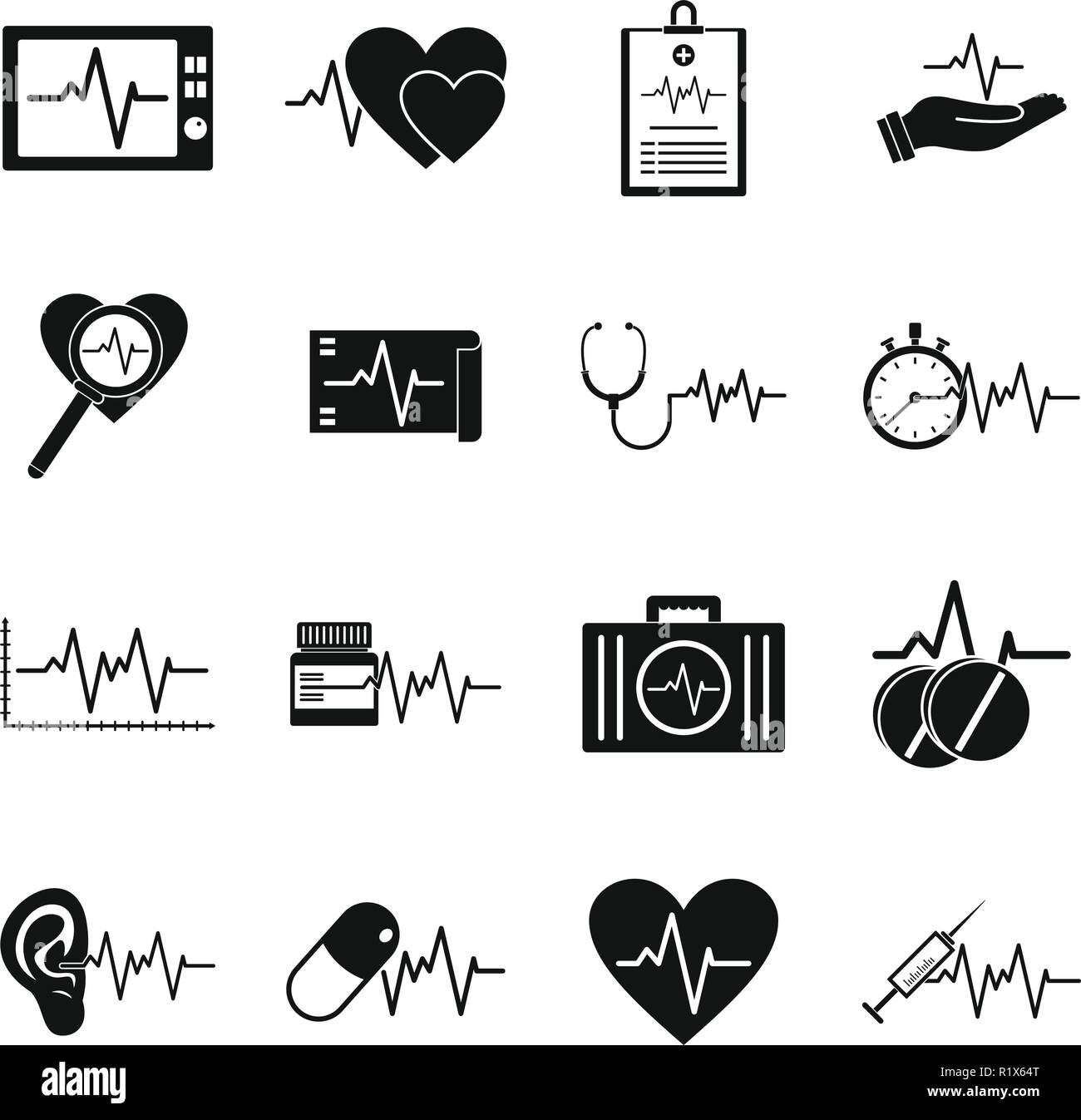 Heart pulse beat icons set. Simple illustration of 25 heart pulse beat vector icons for web - Stock Vector
