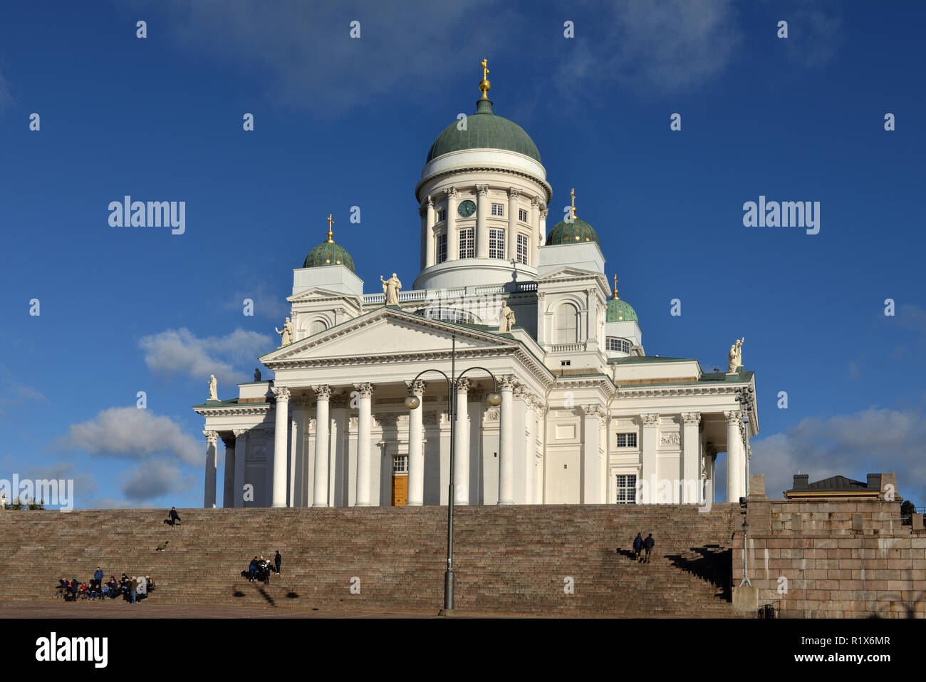 Finnish Evangelical Lutheran cathedral of Diocese (1852). Autumn - Stock Image
