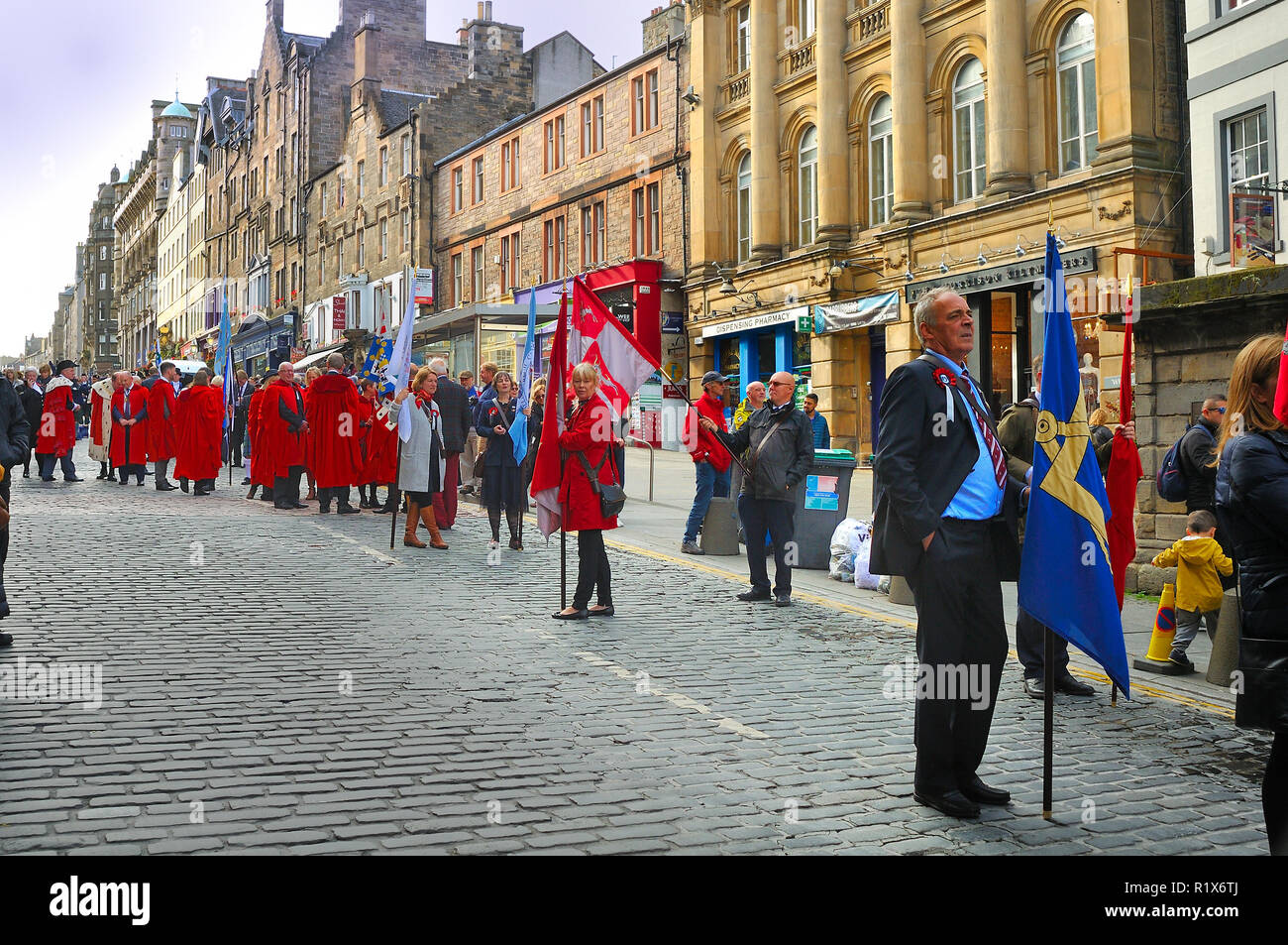 Marchers on the Riding of the Marches, Edinburgh, Scotland - Stock Image