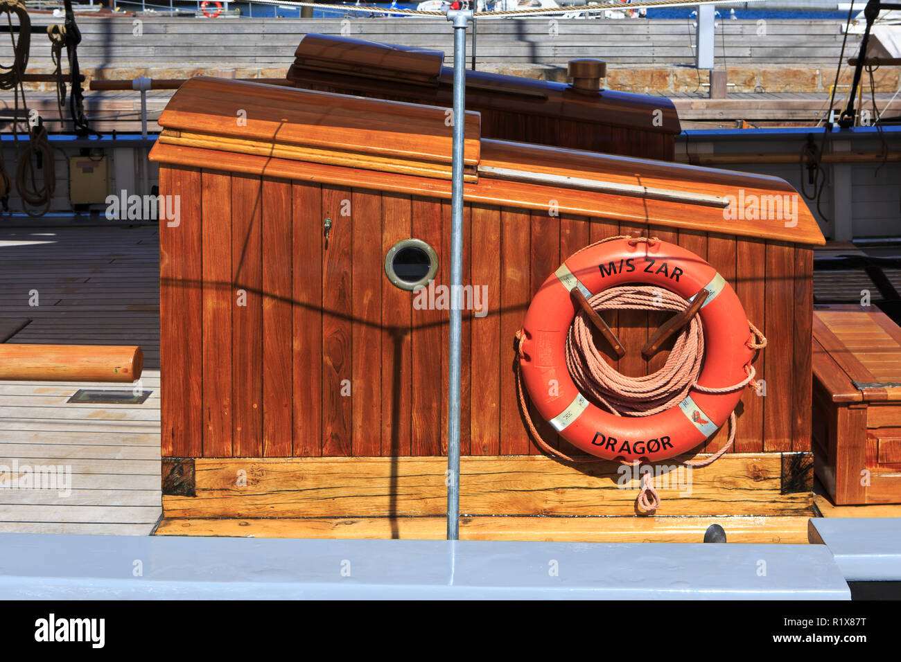 Close-up of the wooden sailing ship M/S Zar from Dragor in Helsingor, Denmark - Stock Image