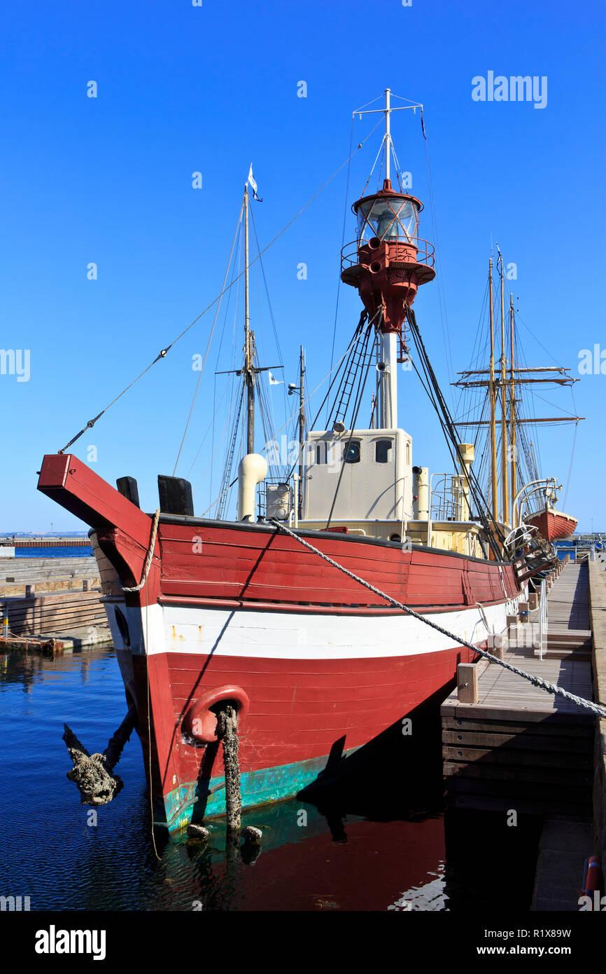 The lightvessel No. XVII Gedser Rev (currently museum ship) in Helsingor, Denmark - Stock Image