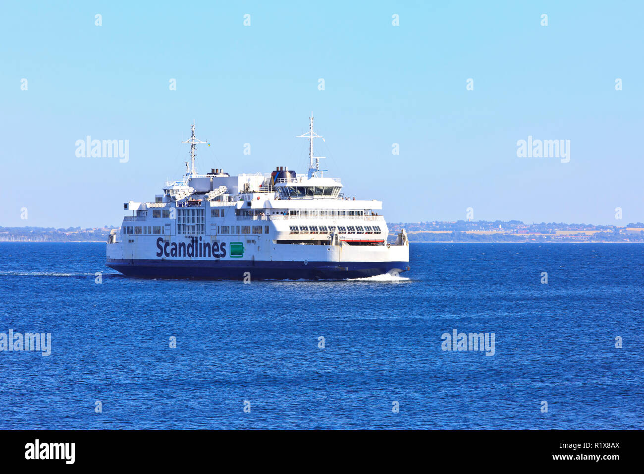 The MF Tycho Brahe ferry at sea on its way from Helsingborg, Sweden to Helsingor, Denmark Stock Photo