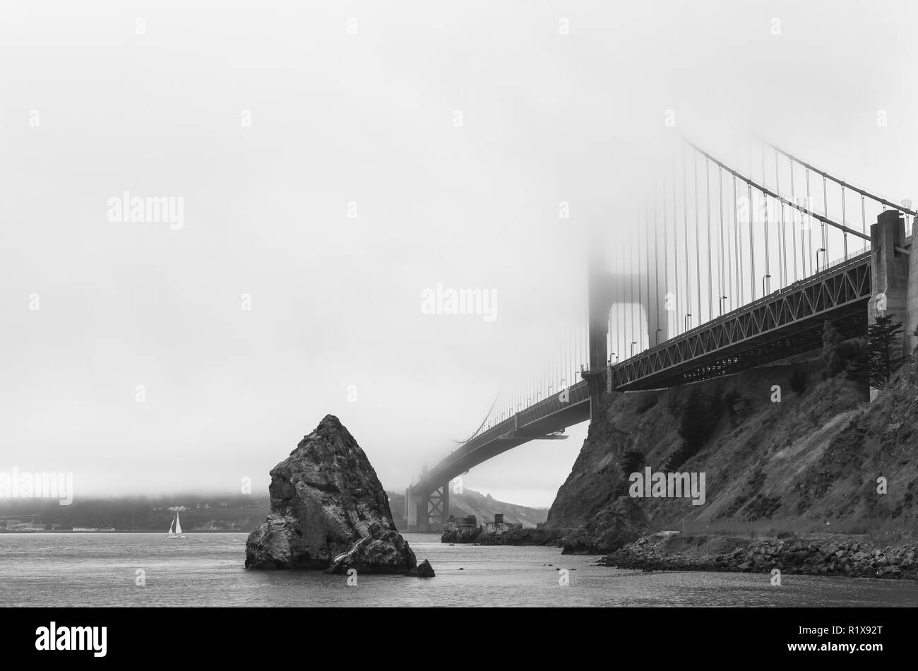 The iconic Golden Gate Bridge in San Francisco, California, United States, on an overcast morning. - Stock Image