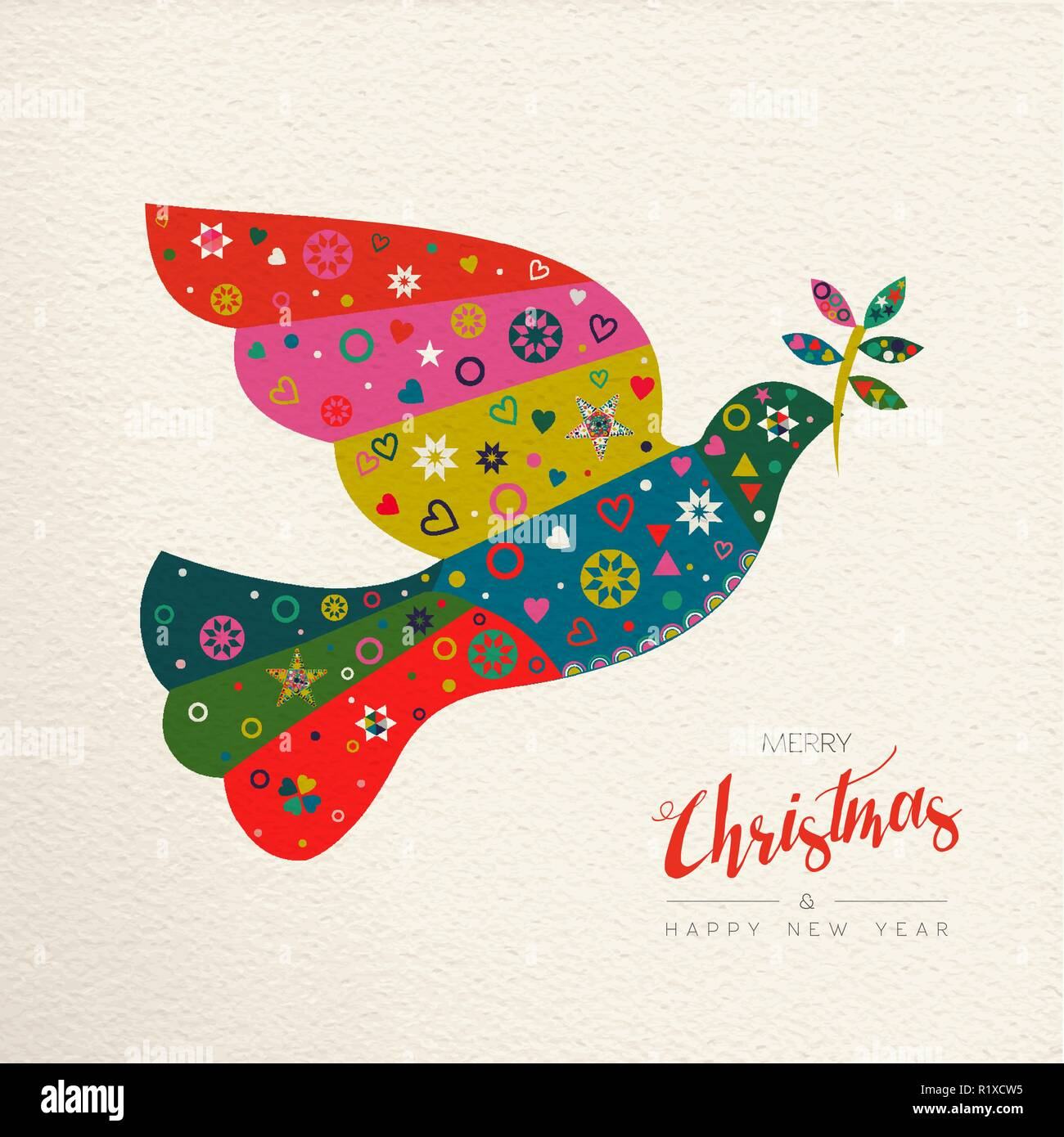 Merry Christmas and Happy New Year folk art greeting card bird illustration. Scandinavian vintage style dove with traditional geometric shapes in fest - Stock Image