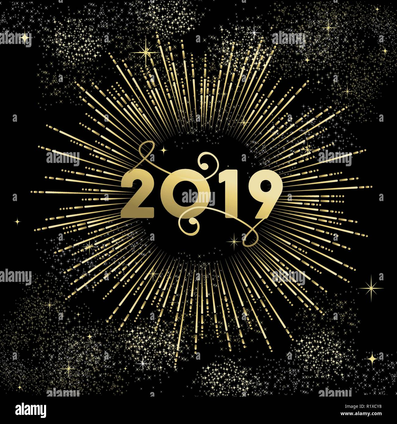 happy new year 2019 greeting card design with gold party firework explosion on night sky